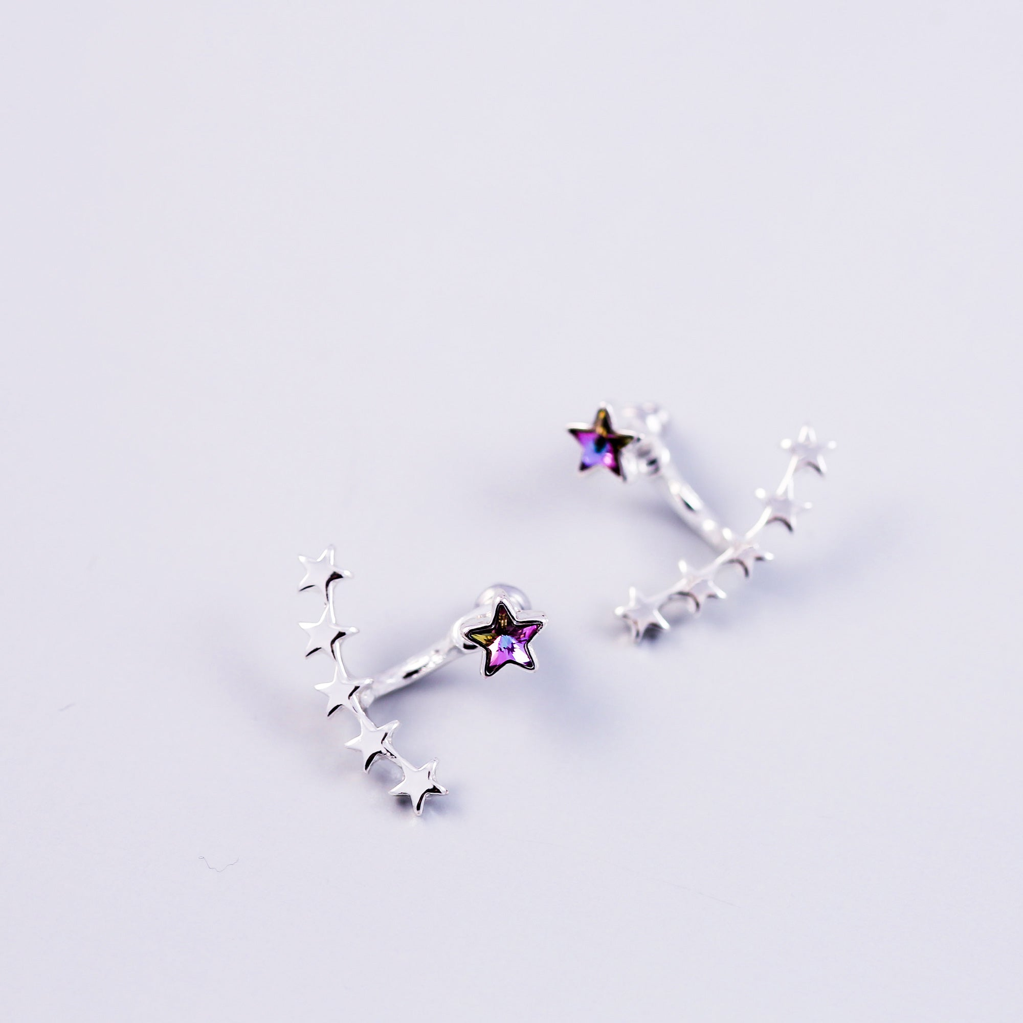 Silver & Purple Crystal Shooting Star Ear Jackets