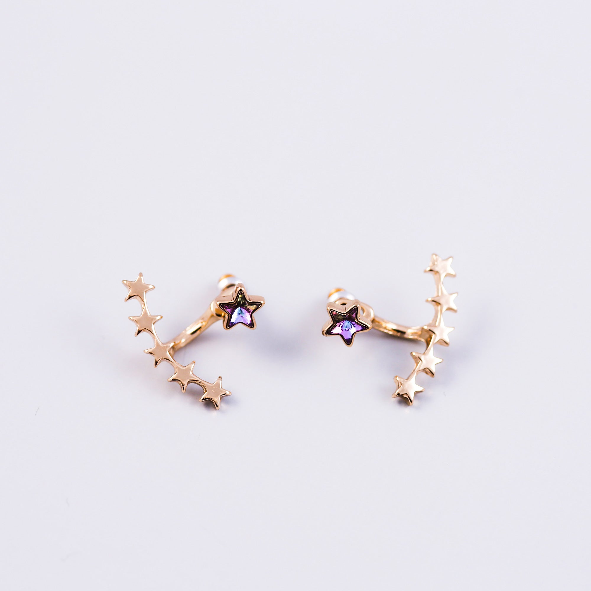 Gold & Purple Crystal Shooting Star Ear Jackets