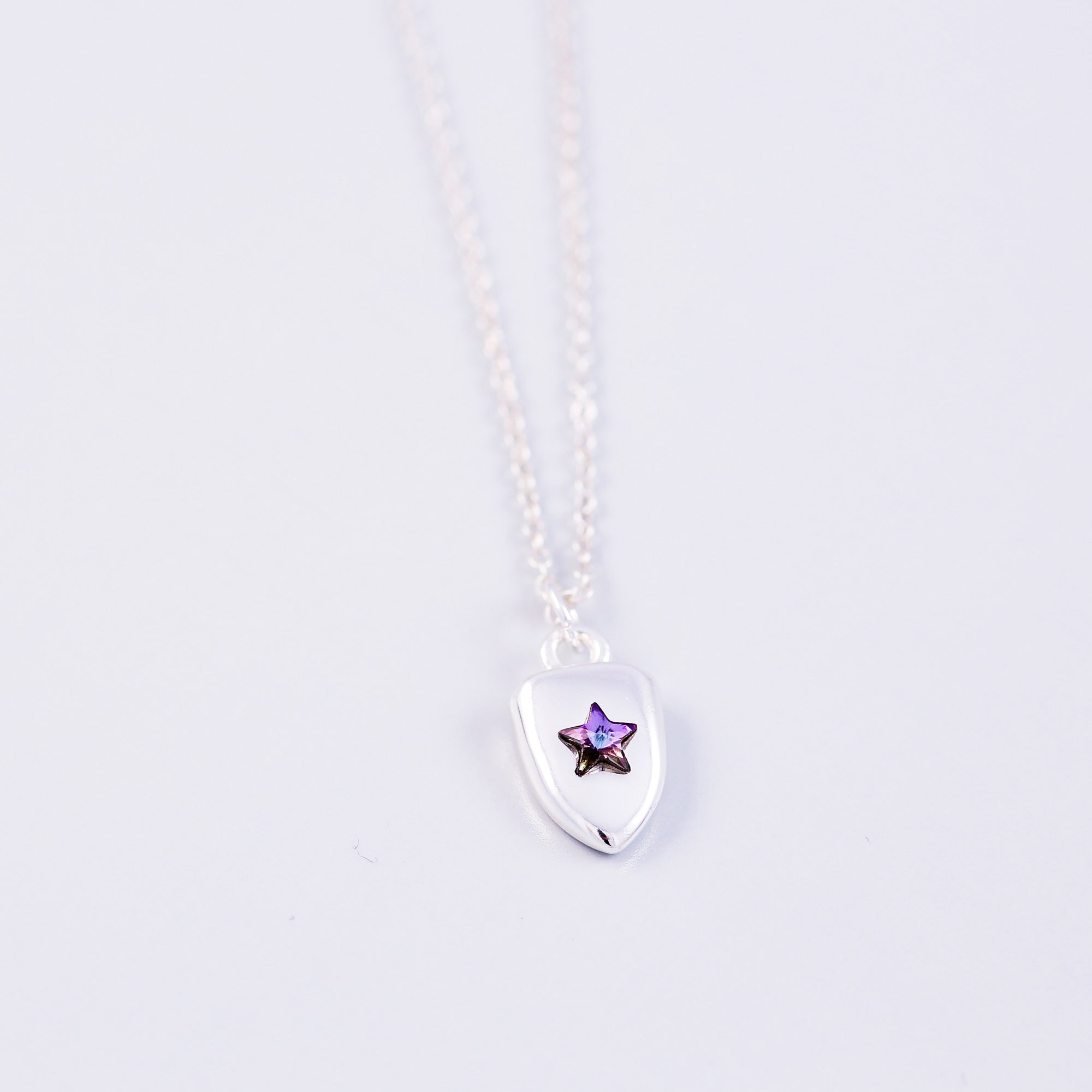 Silver & Purple Crystal Star Shield Necklace