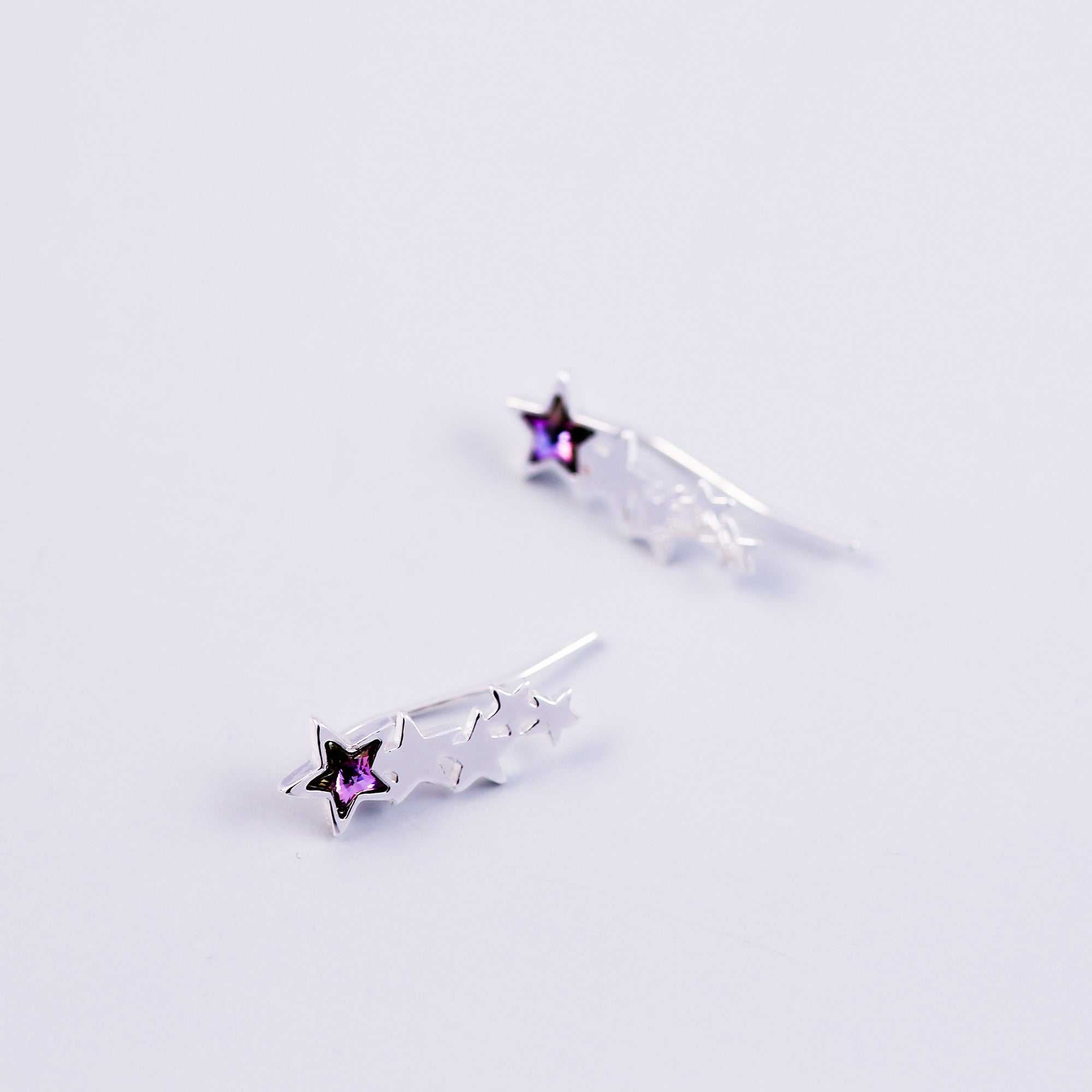 Shooting Star Ear Crawlers | Silver Star Earrings | Purple Crawlers