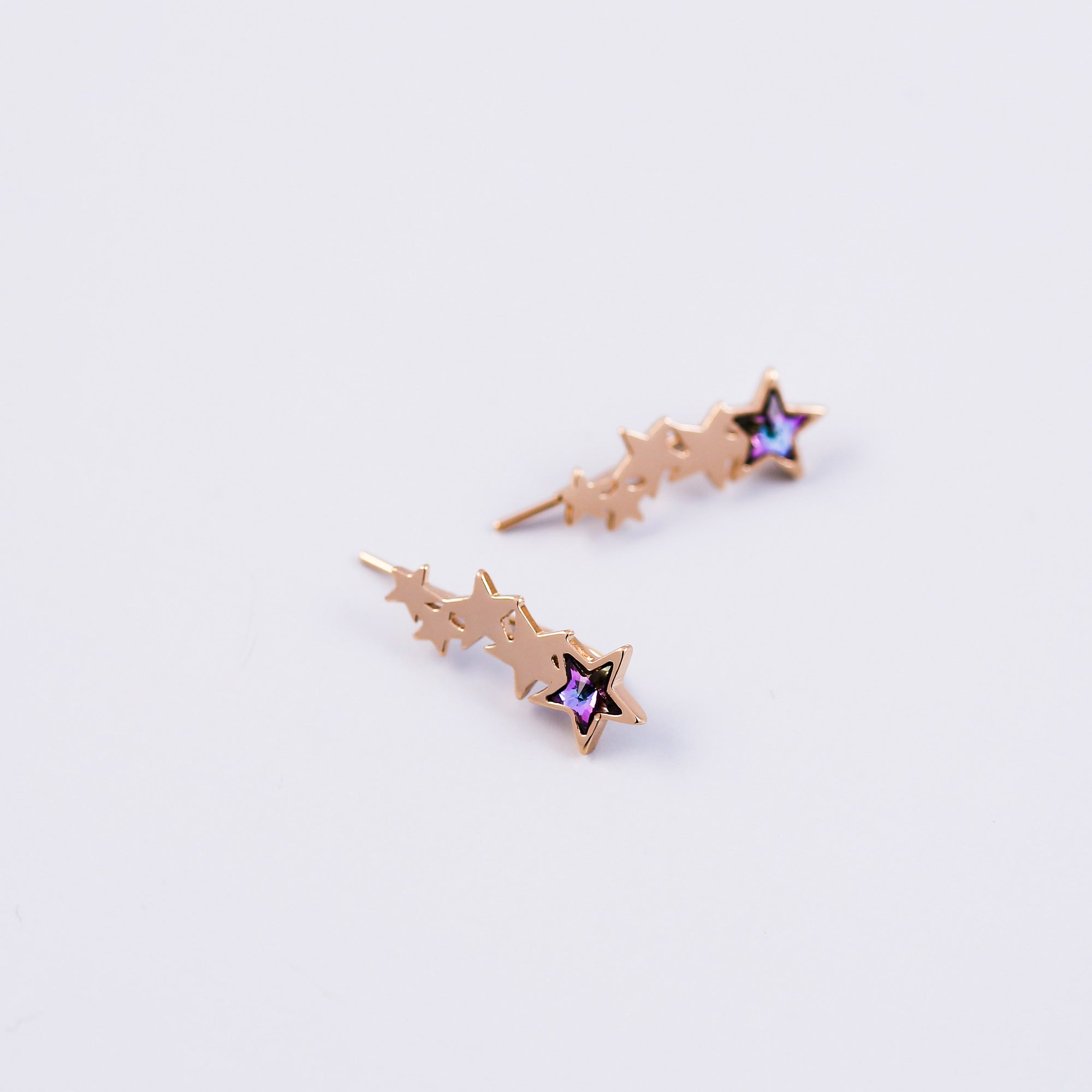 Gold & Purple Crystal Shooting Star Ear Crawlers