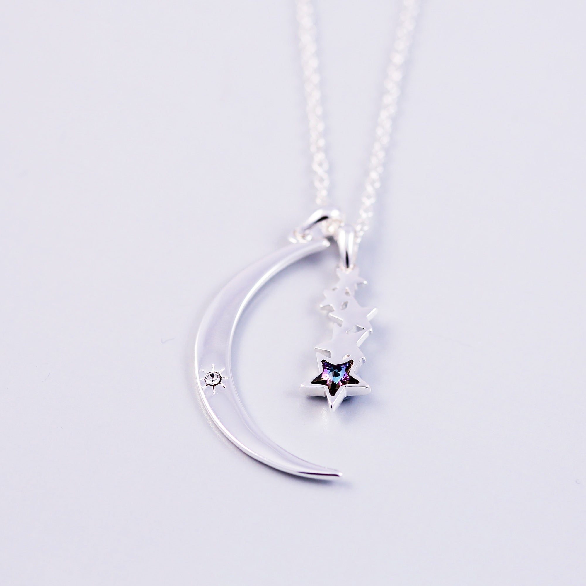 Silver & Purple Crystal Moon and Shooting Star Necklace