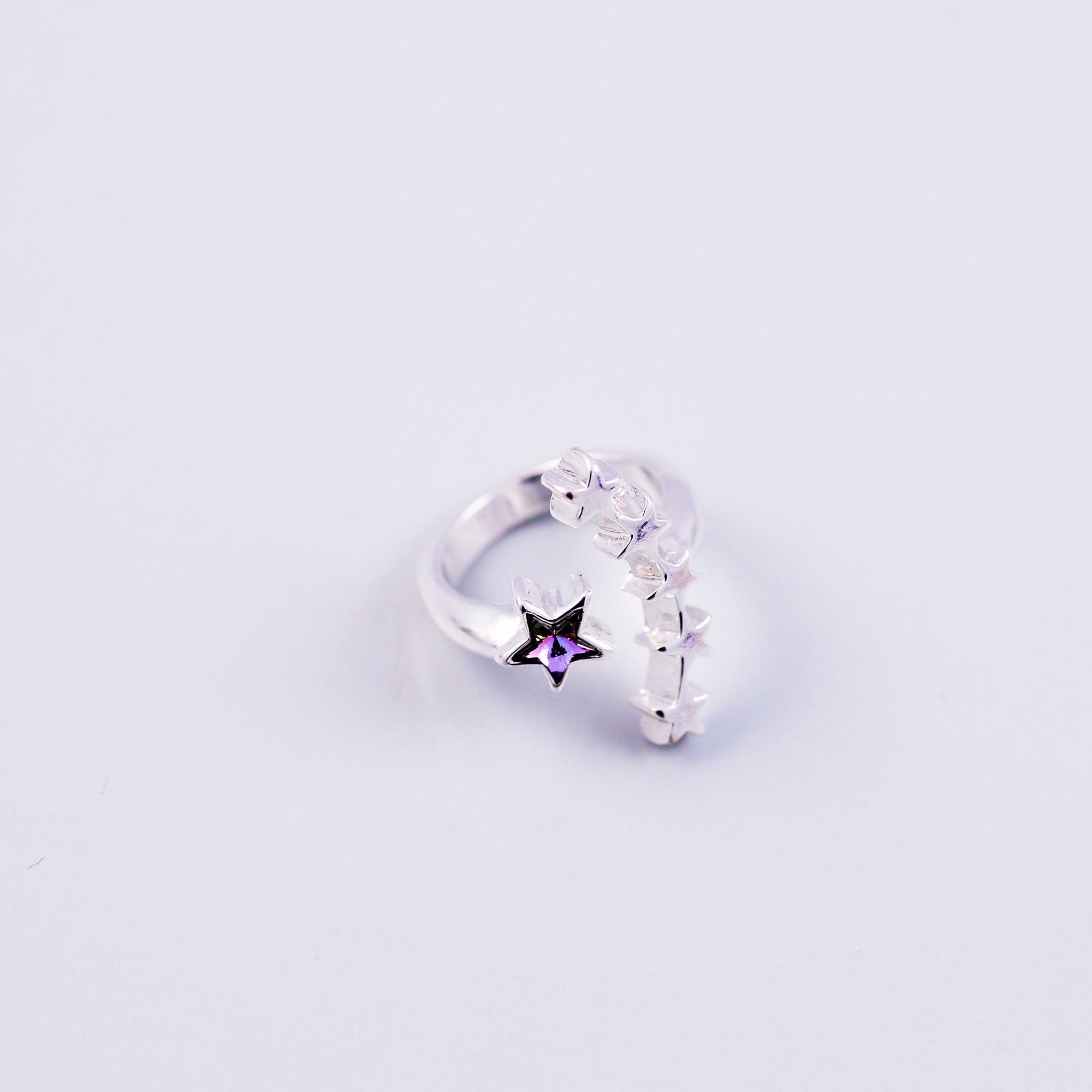 Silver & Purple Crystal Shooting Star Ring