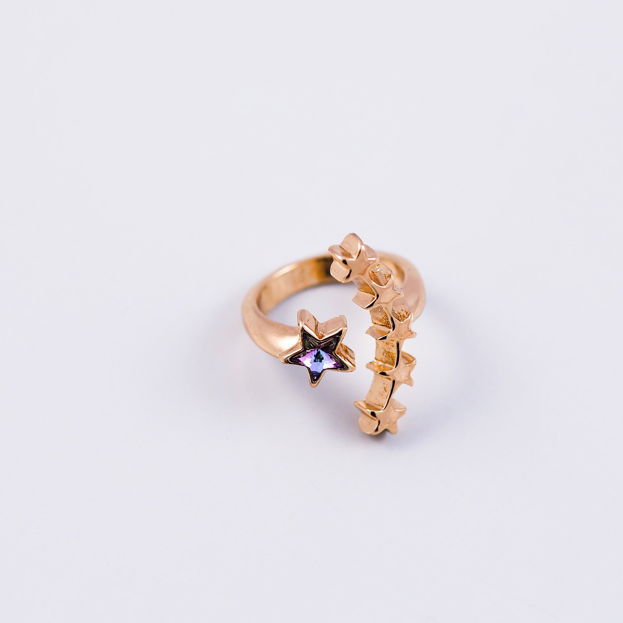 Gold & Purple Crystal Shooting Star Ring