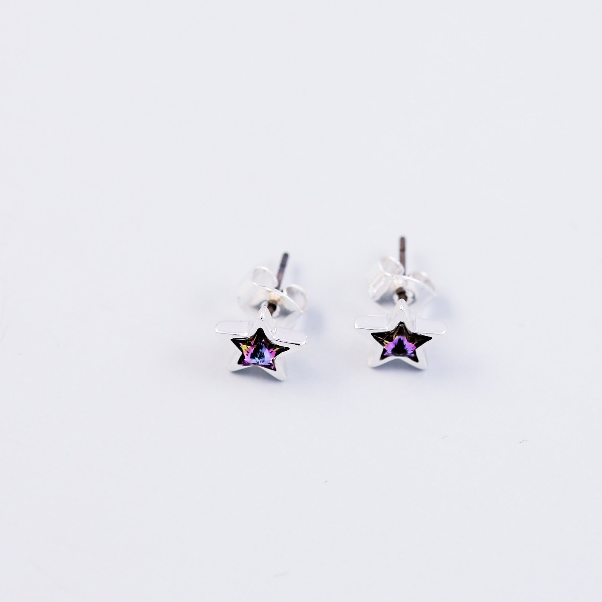 Silver & Purple Crystal Star Stud Earrings