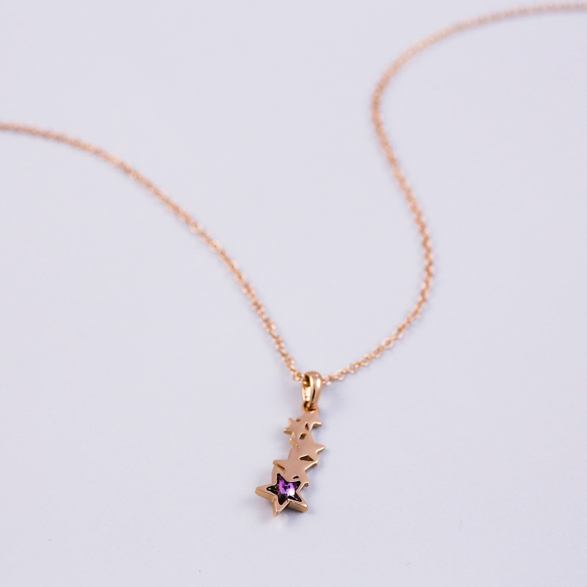 Star Necklace | Shooting Star Pendant | Gold and purple Necklace