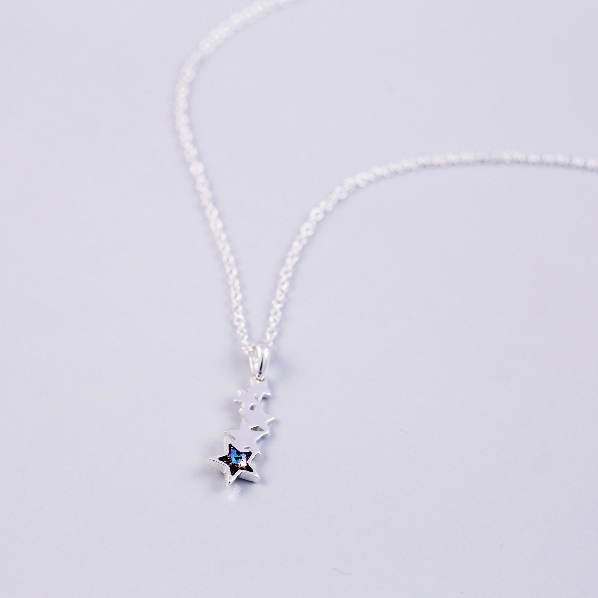 Silver & Blue Crystal Shooting Star Necklace