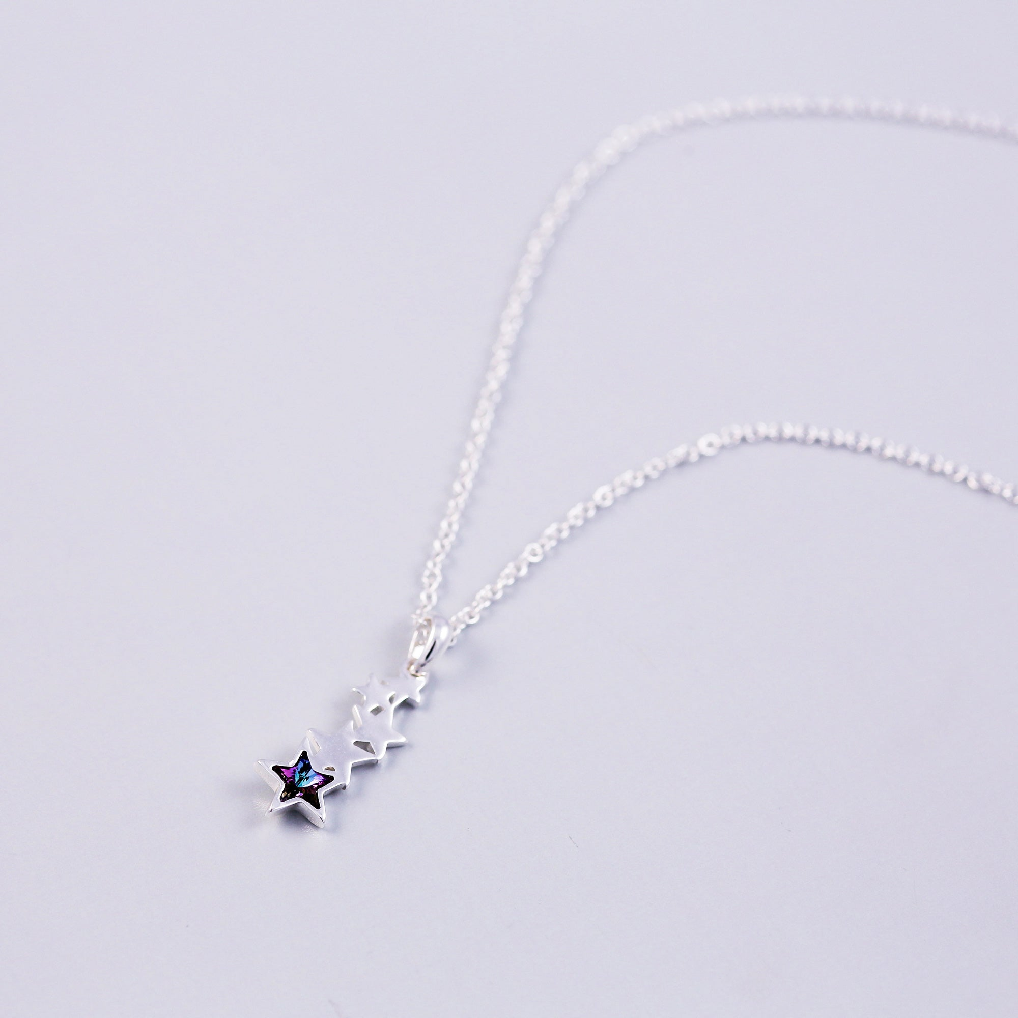 Silver & Purple Crystal Shooting Star Necklace