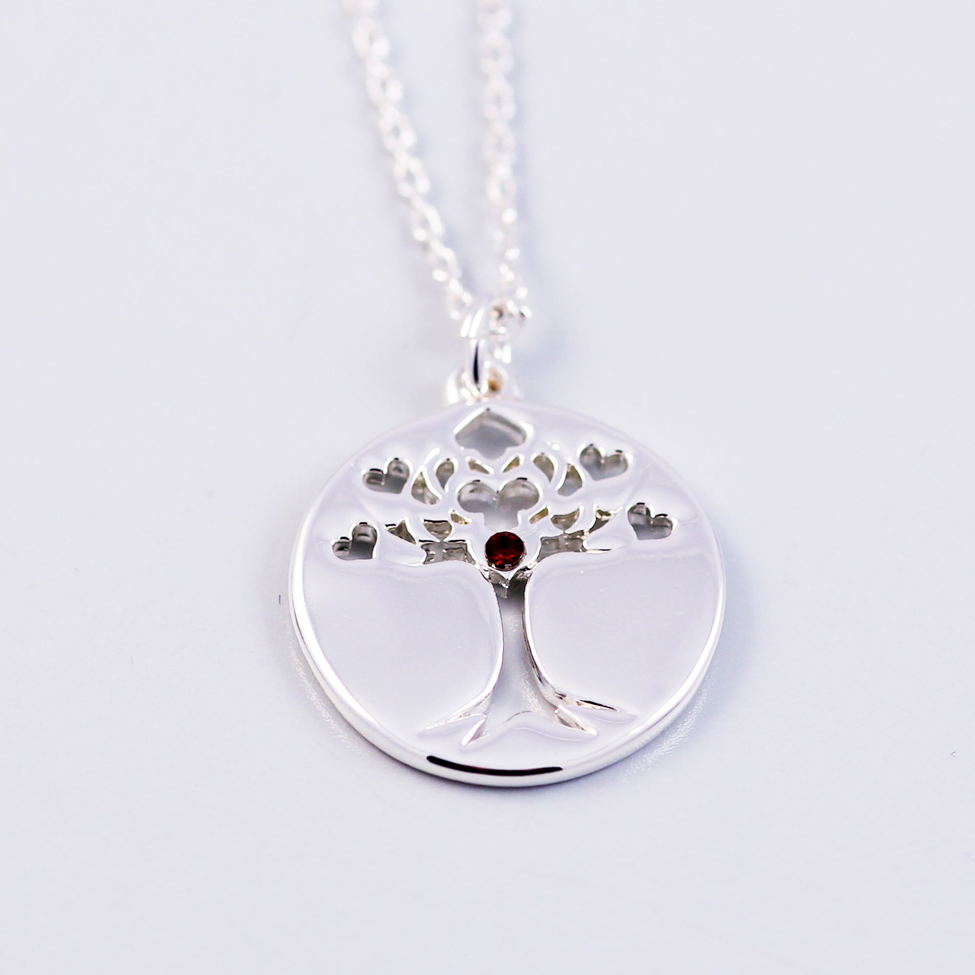 Tree of Life Siam January Birthstone Necklace