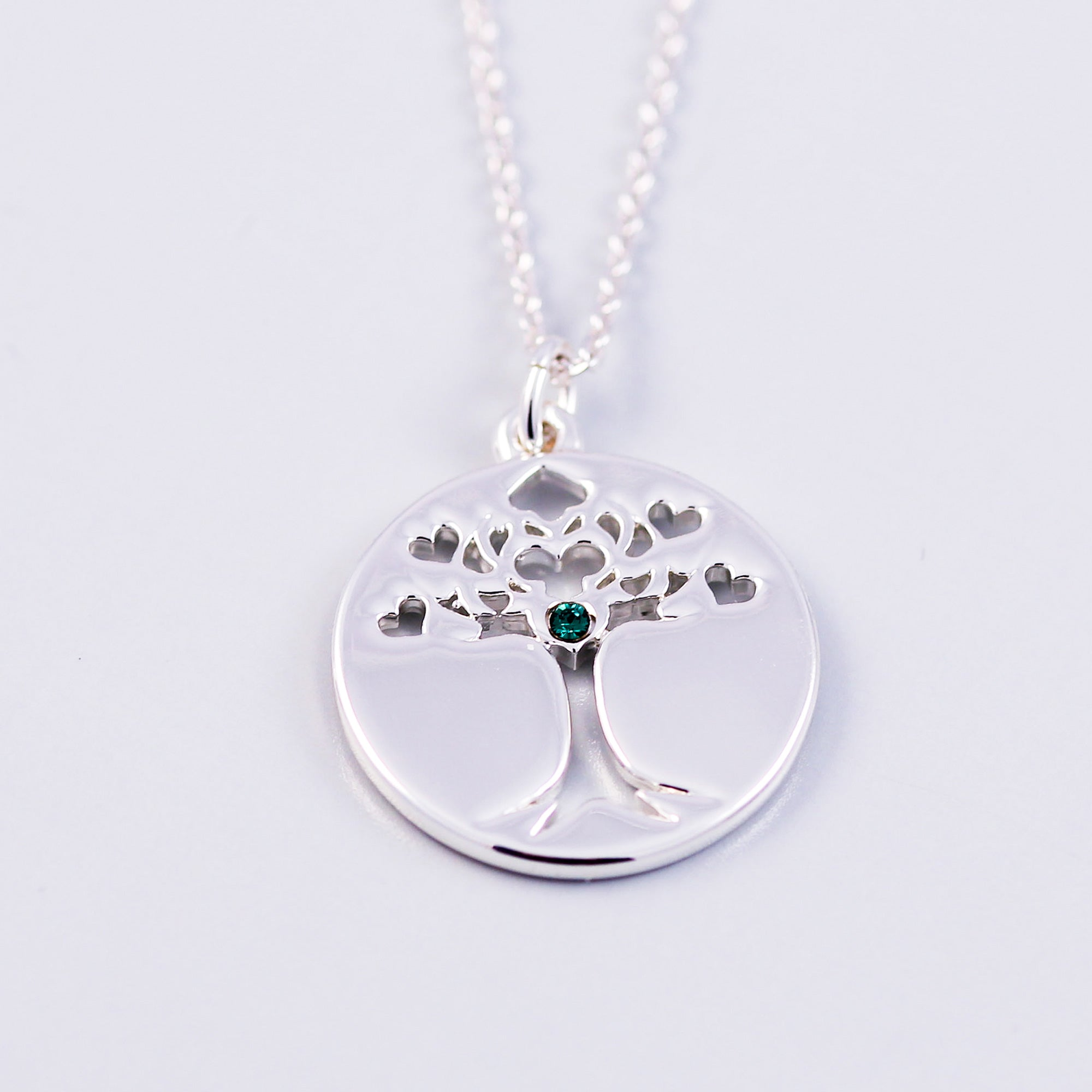 Tree of Life Emerald May Birthstone Necklace