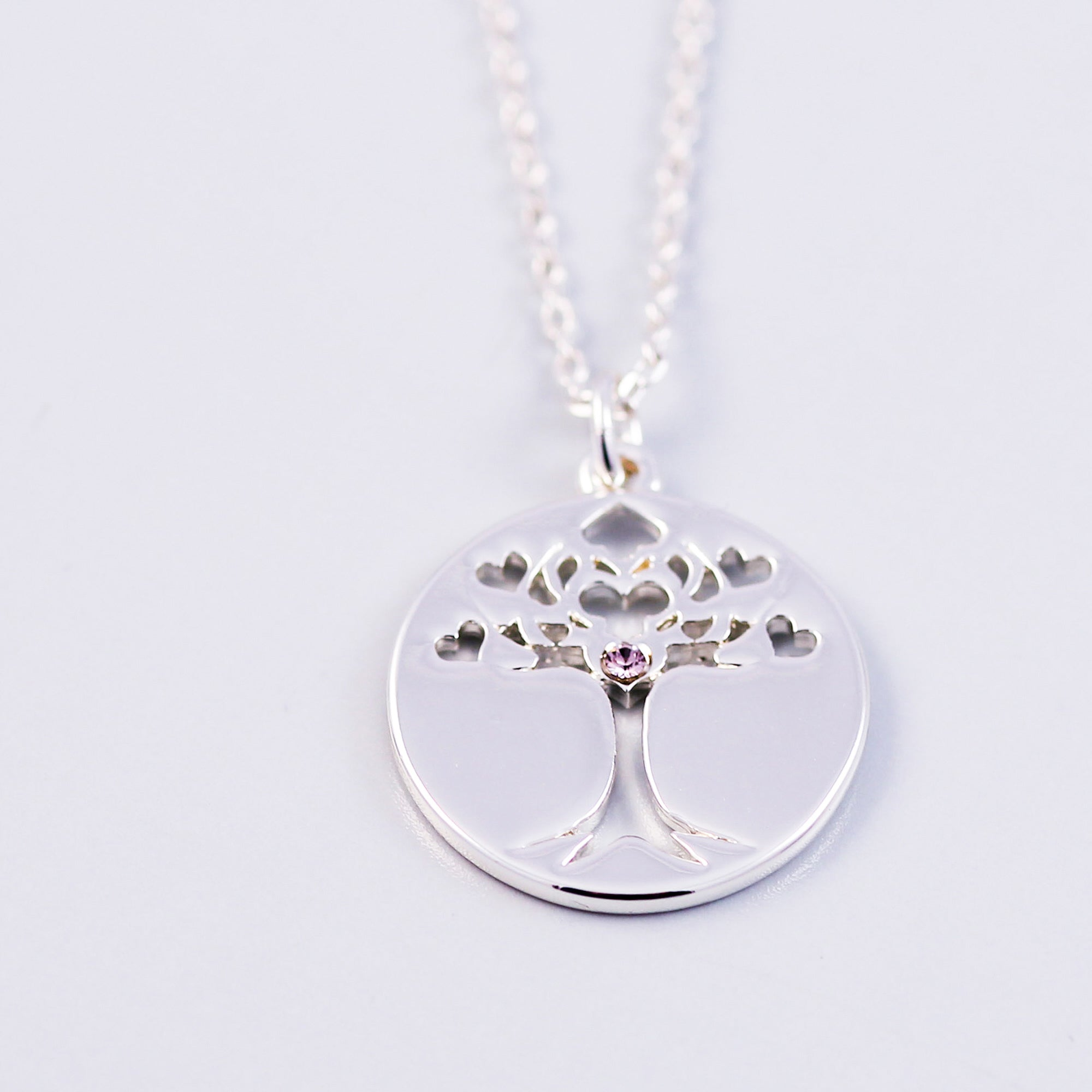 Tree of Life Light Amethyst June Birthstone Necklace