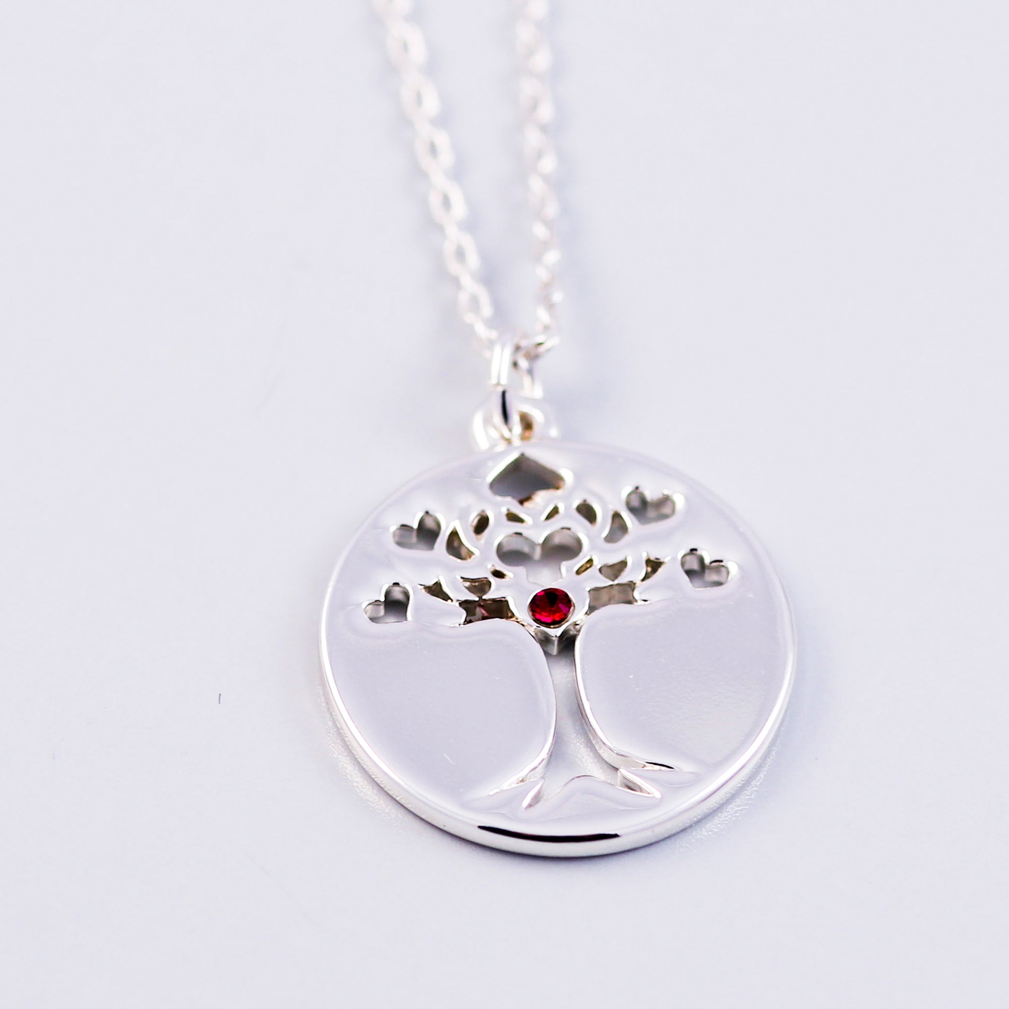 Tree of Life Ruby July Birthstone Necklace