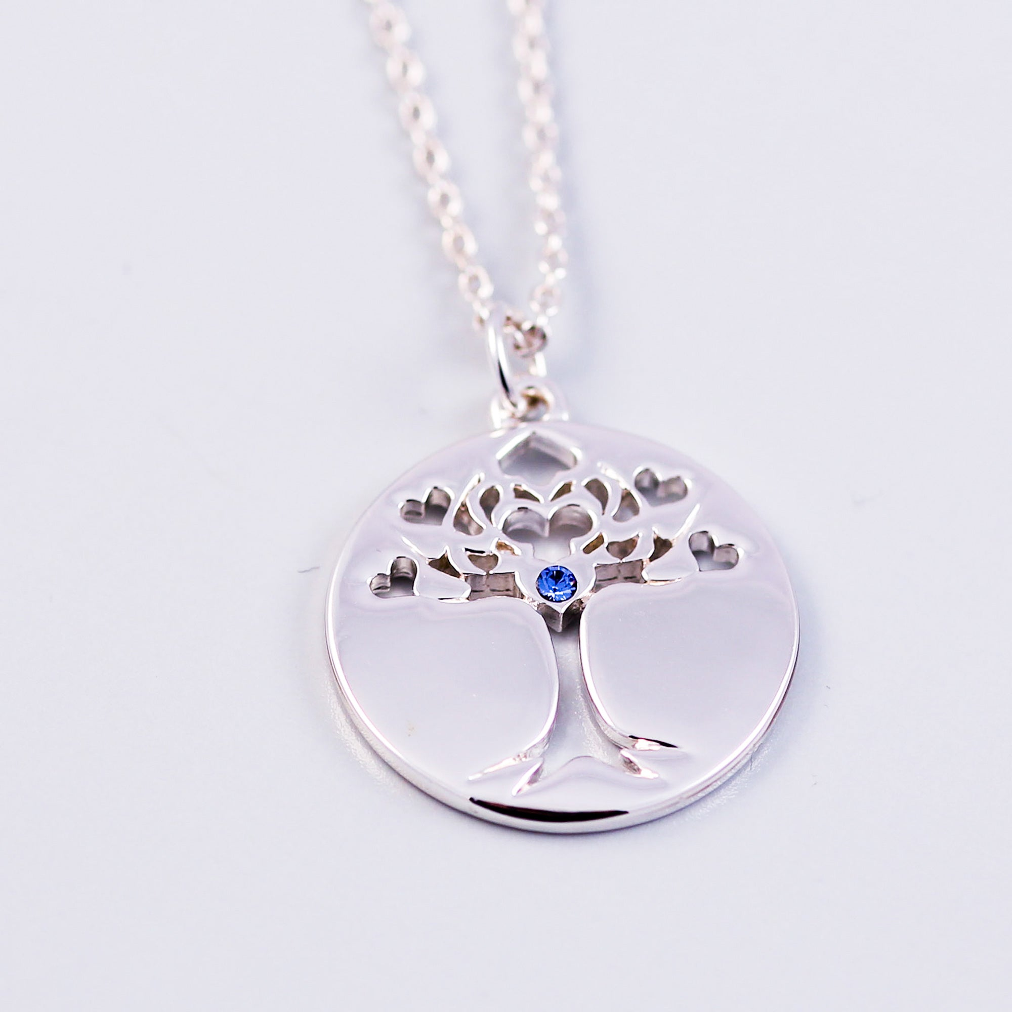 Tree of Life Sapphire September Birthstone Necklace