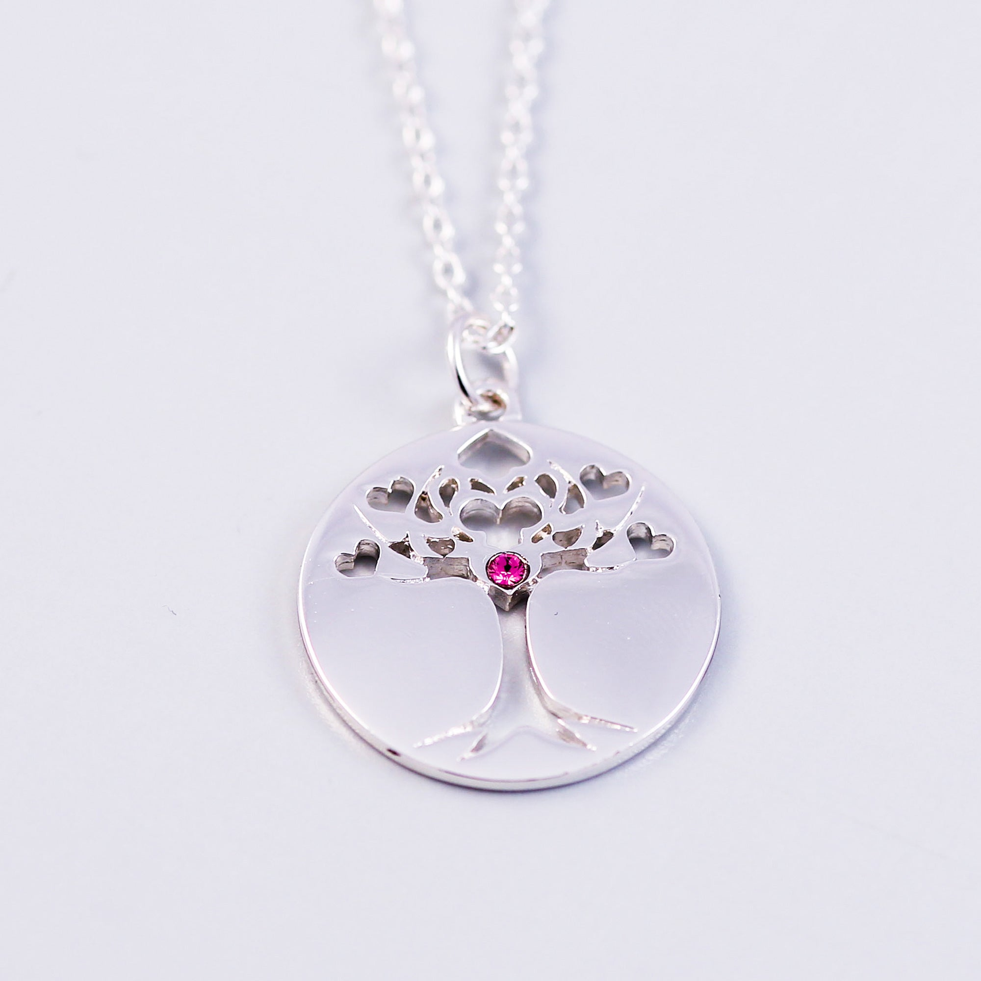 Tree of Life Rose October Birthstone Necklace