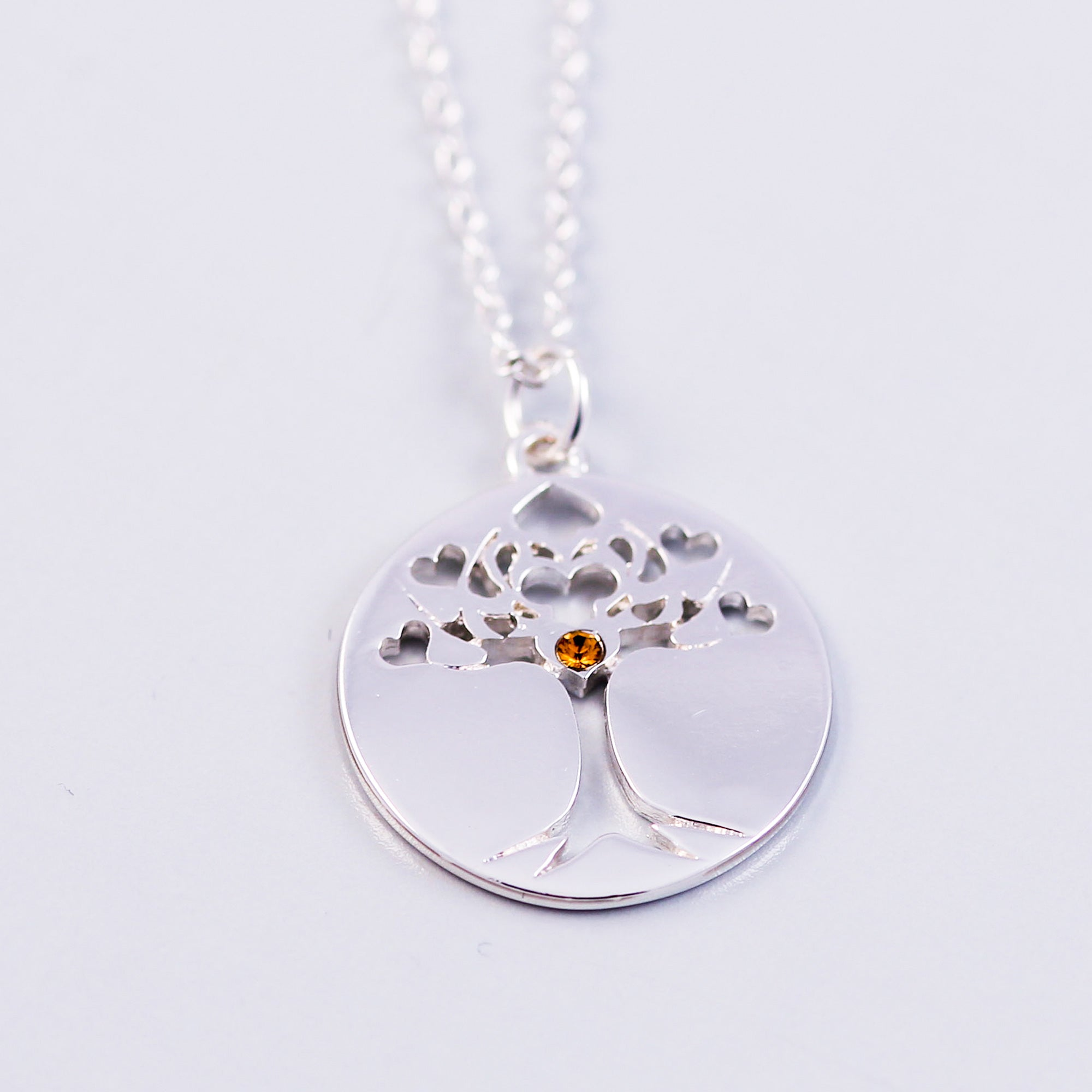 Tree of Life Topaz November Birthstone Necklace