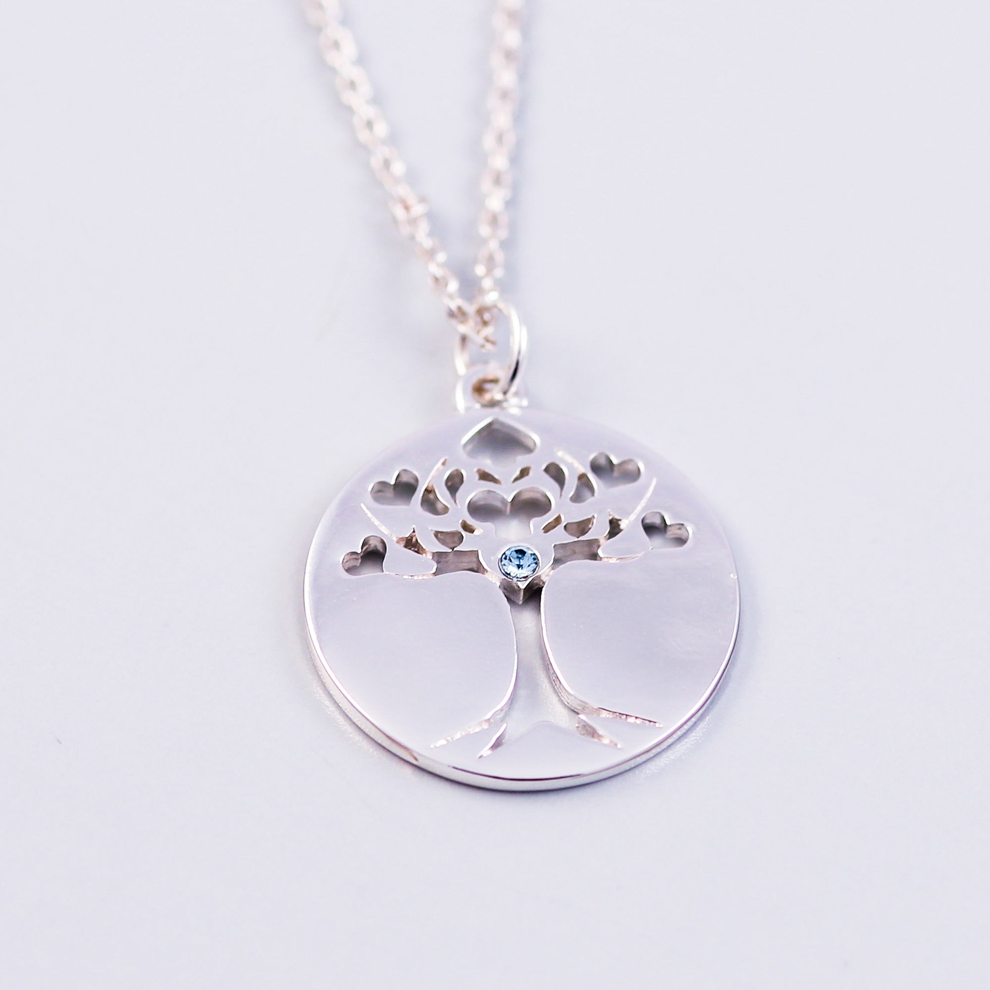 Tree of Life Light Sapphire December Birthstone Necklace