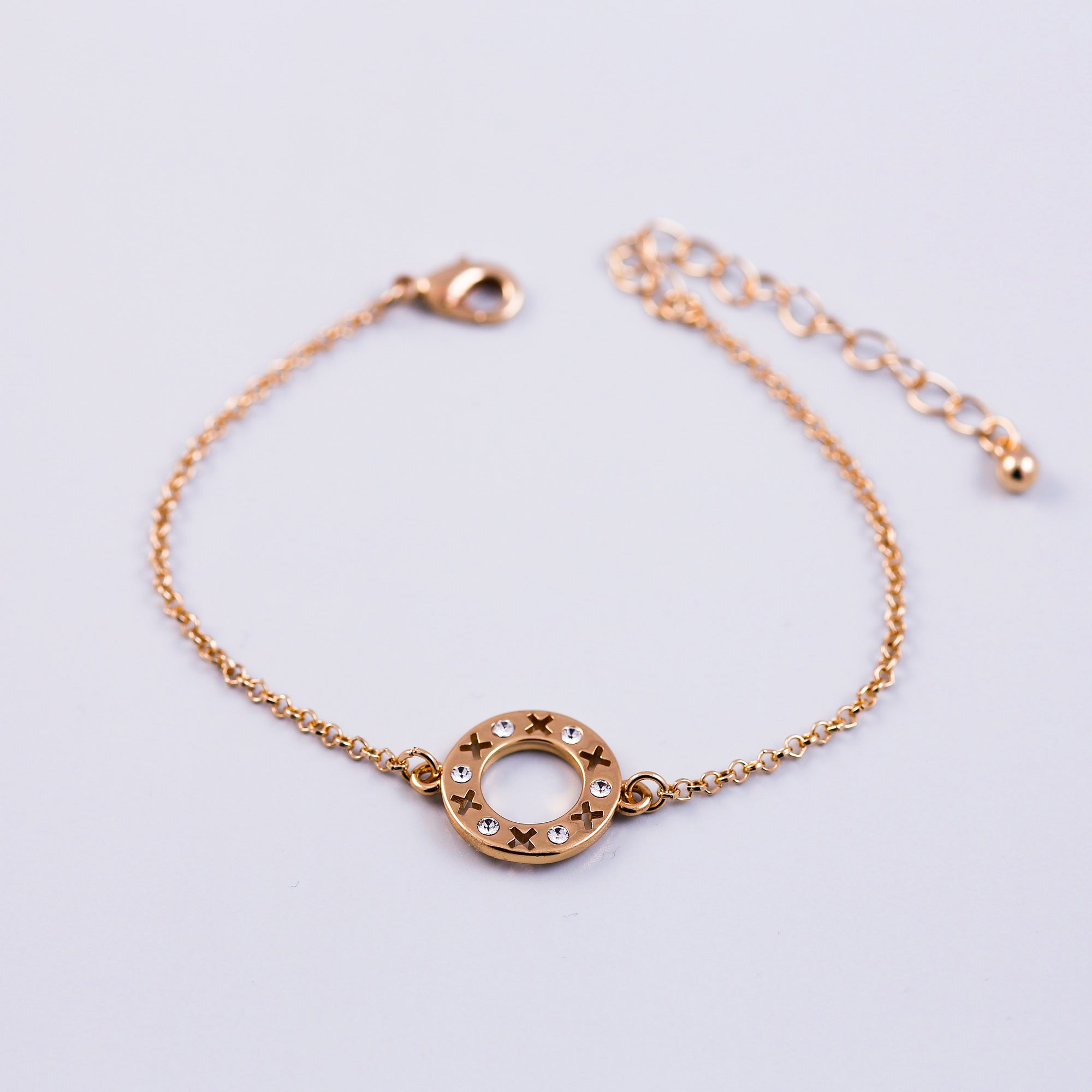 Gold & Crystal Circle XOXO Bracelet