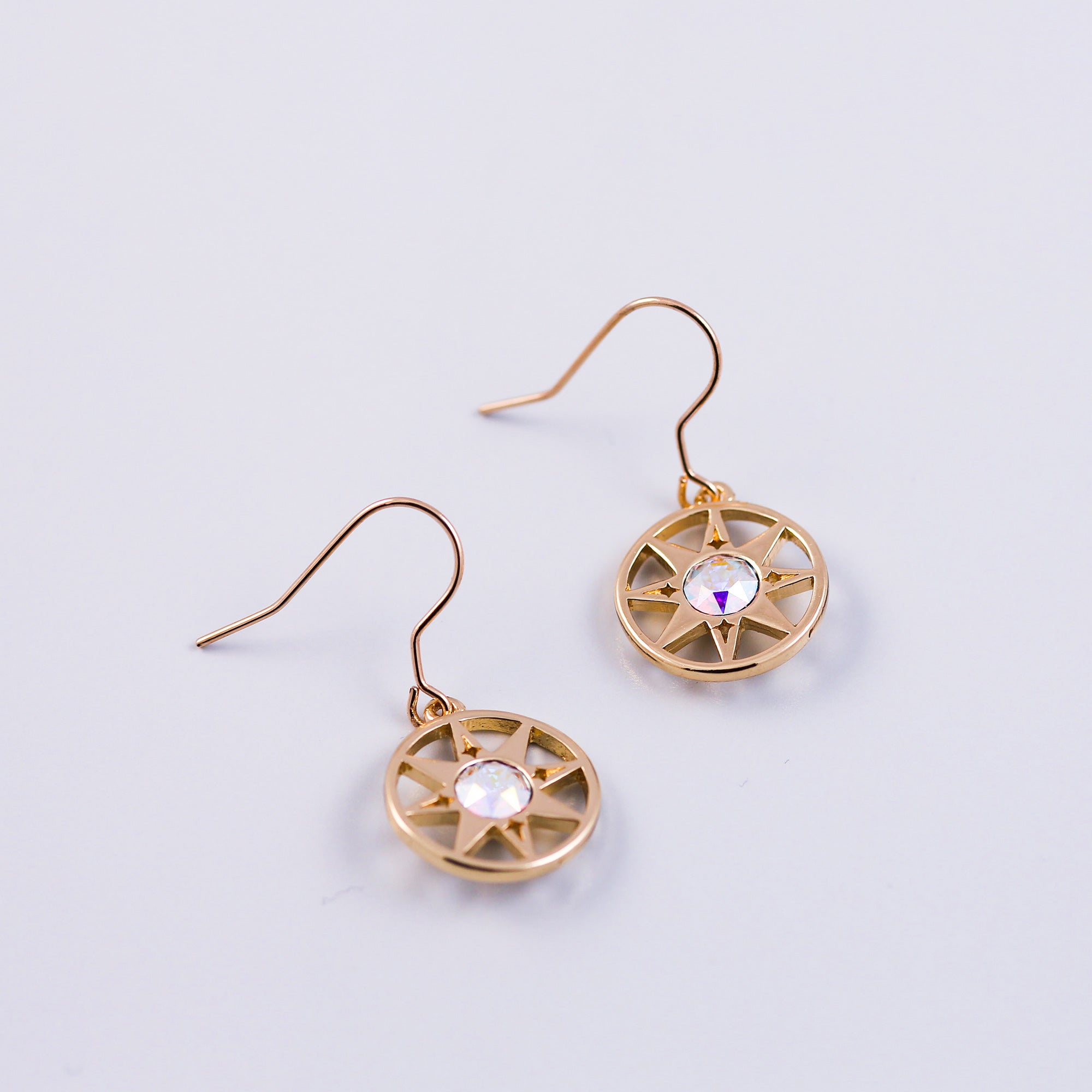 Gold & Crystal AB Compass North Star Earrings
