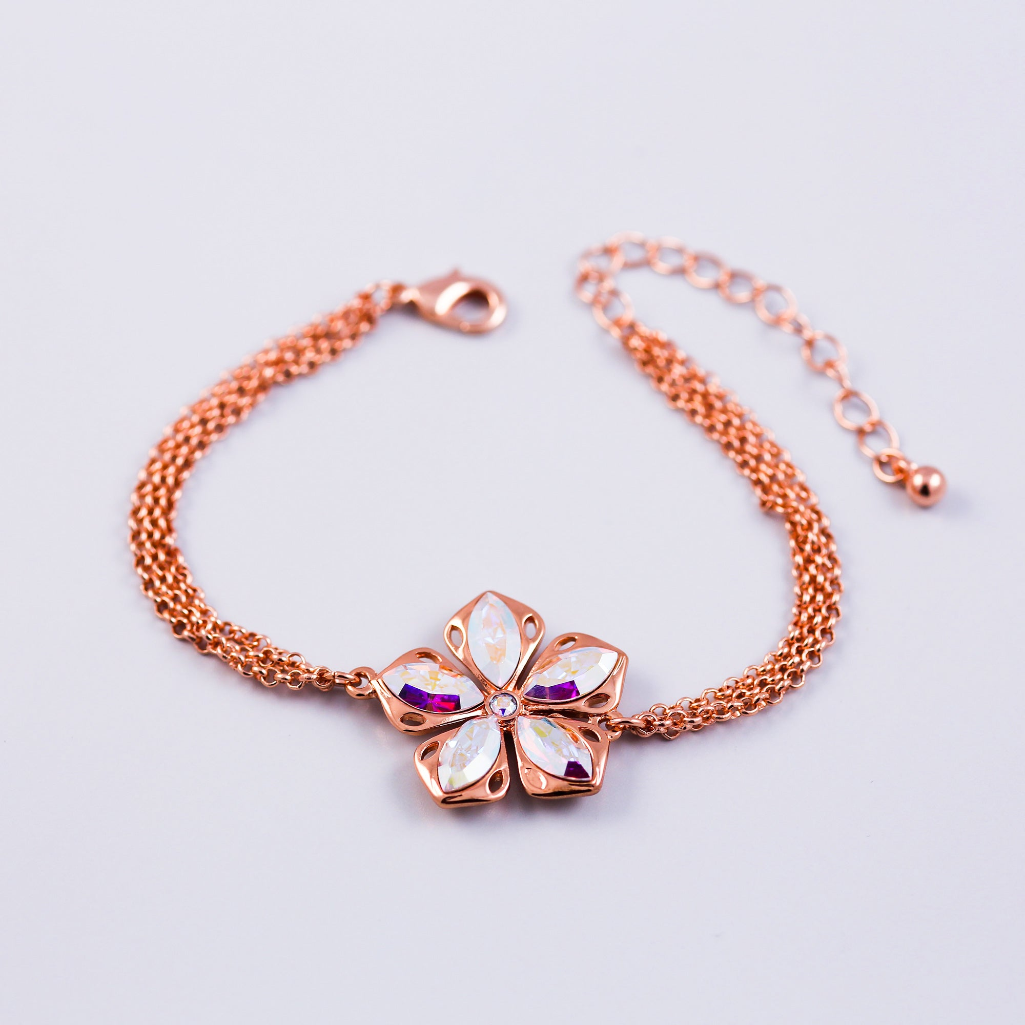 Rose Gold & Crystal AB | Cherry Blossom | Sakura Flower | Bracelet