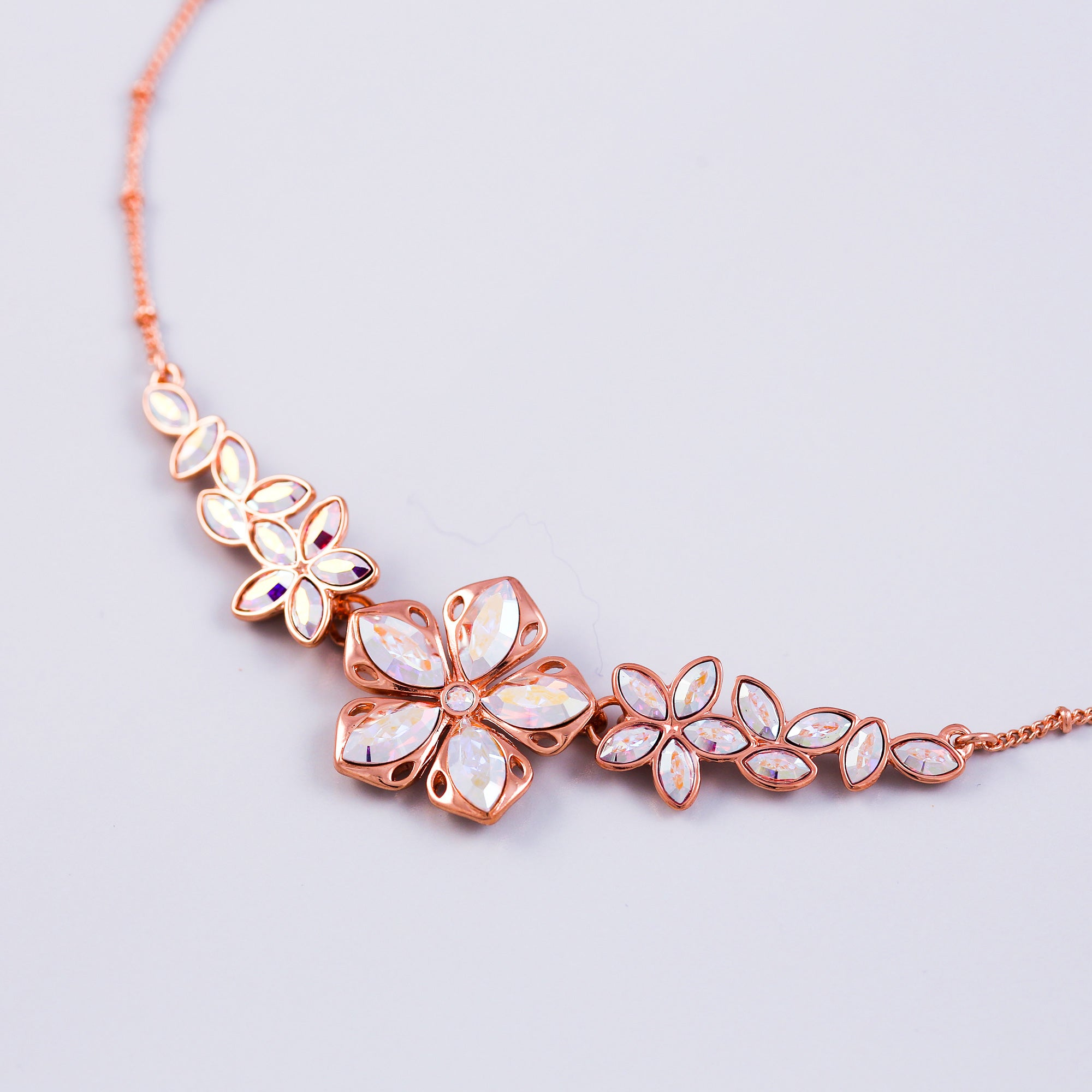 Rose Gold & Crystal AB Cherry Blossom Sakura Collar Necklace