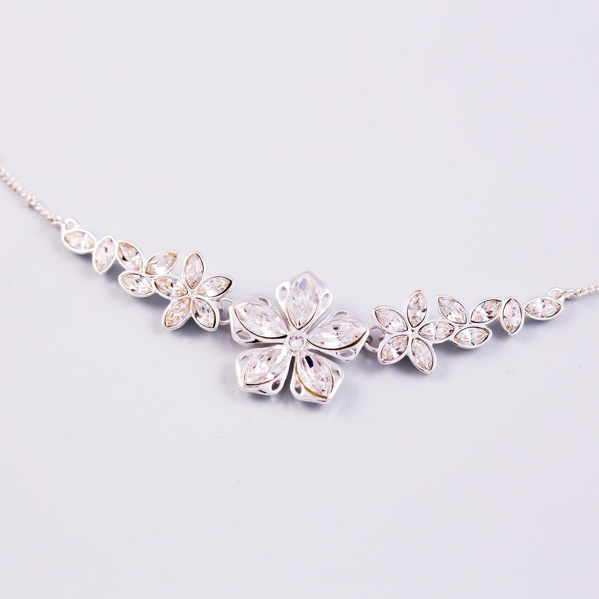 Silver & Crystal Cherry Blossom Sakura Collar Necklace
