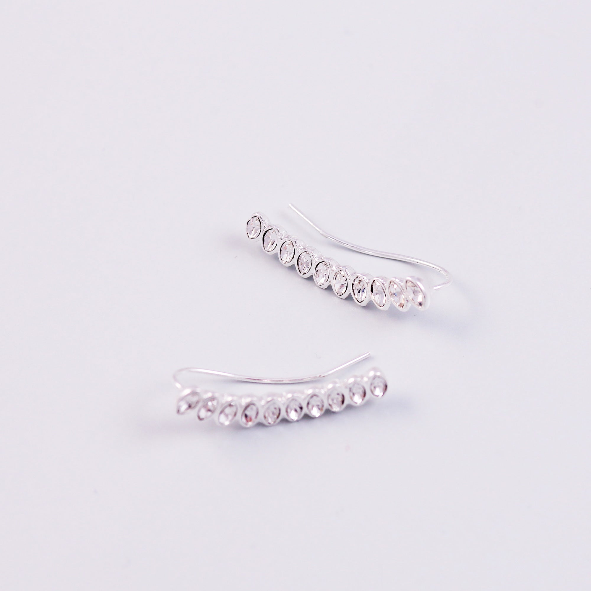 Silver & Crystal Cherry Blossom Sakura Ear Crawlers