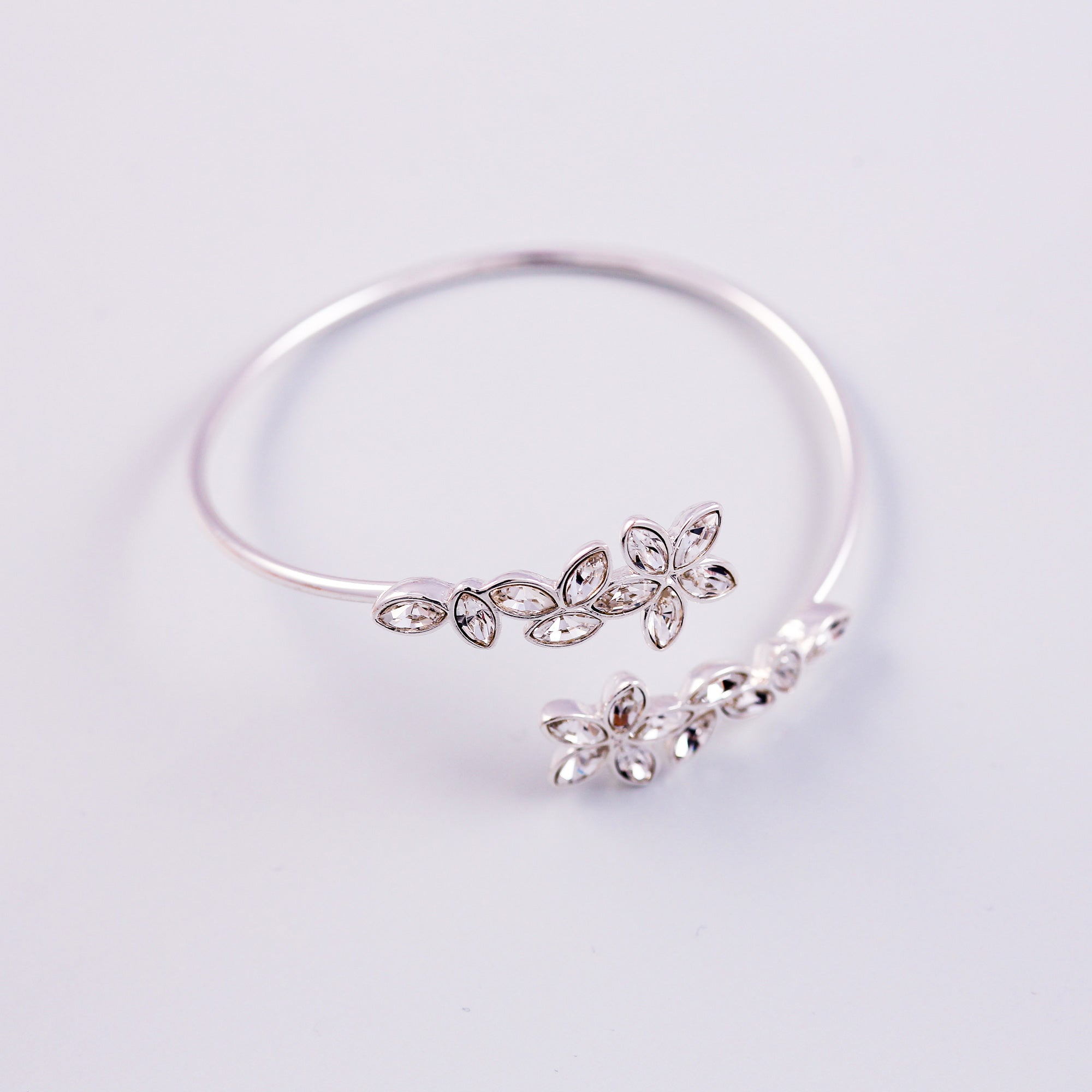 Silver & Crystal Cherry Blossom Sakura Wraparound Bangle