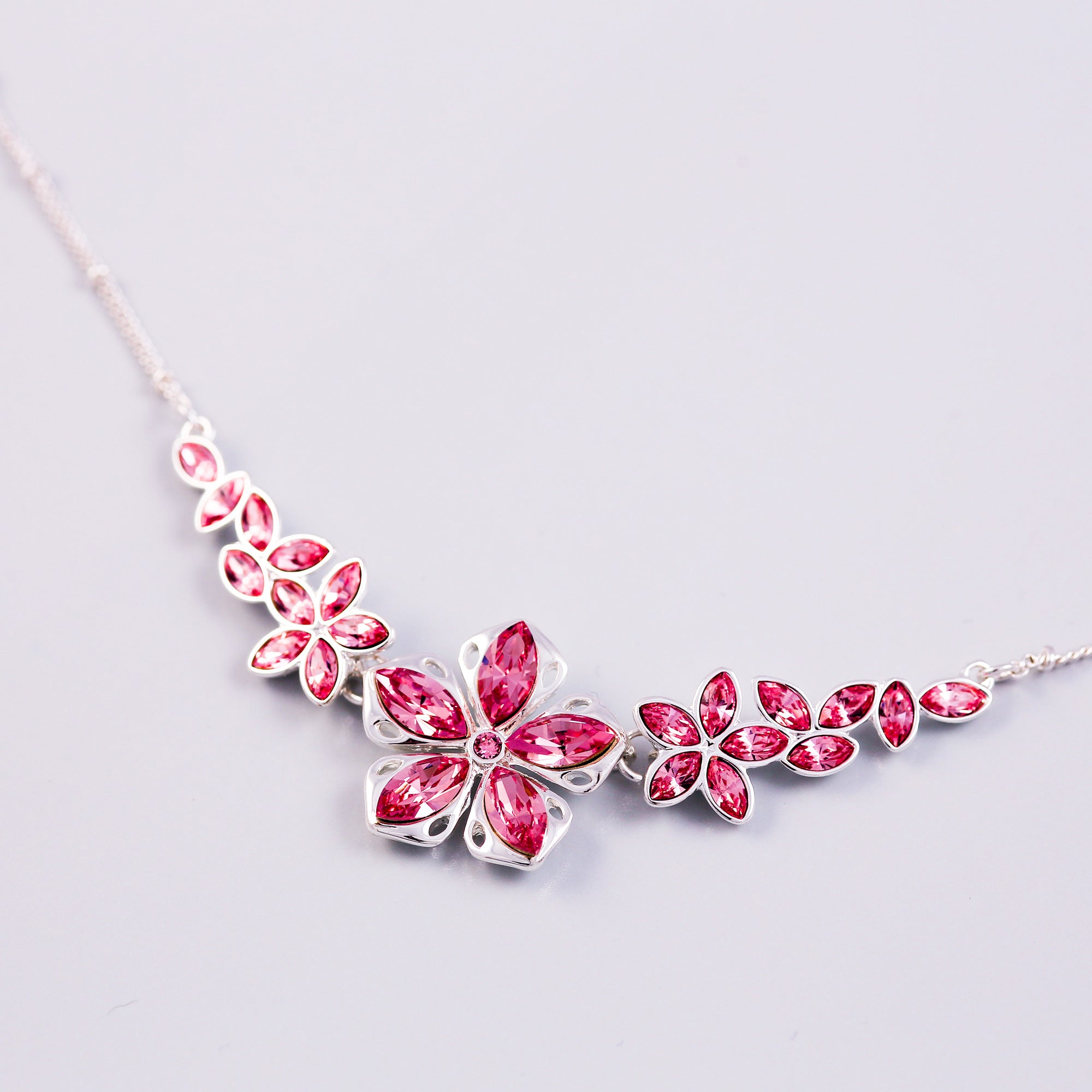Silver & Rose Cherry Blossom Sakura Collar Necklace