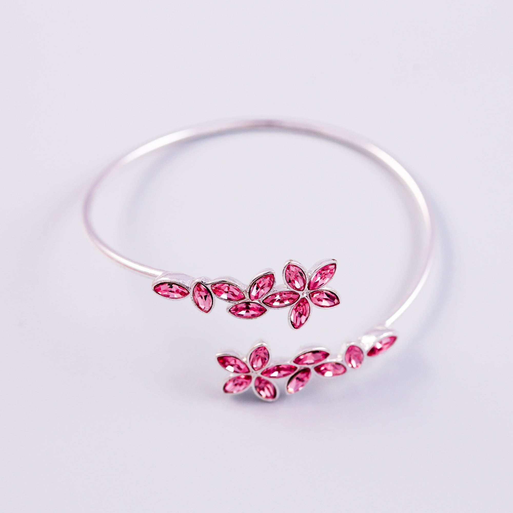 Silver & Rose Sakura Wraparound Bangle