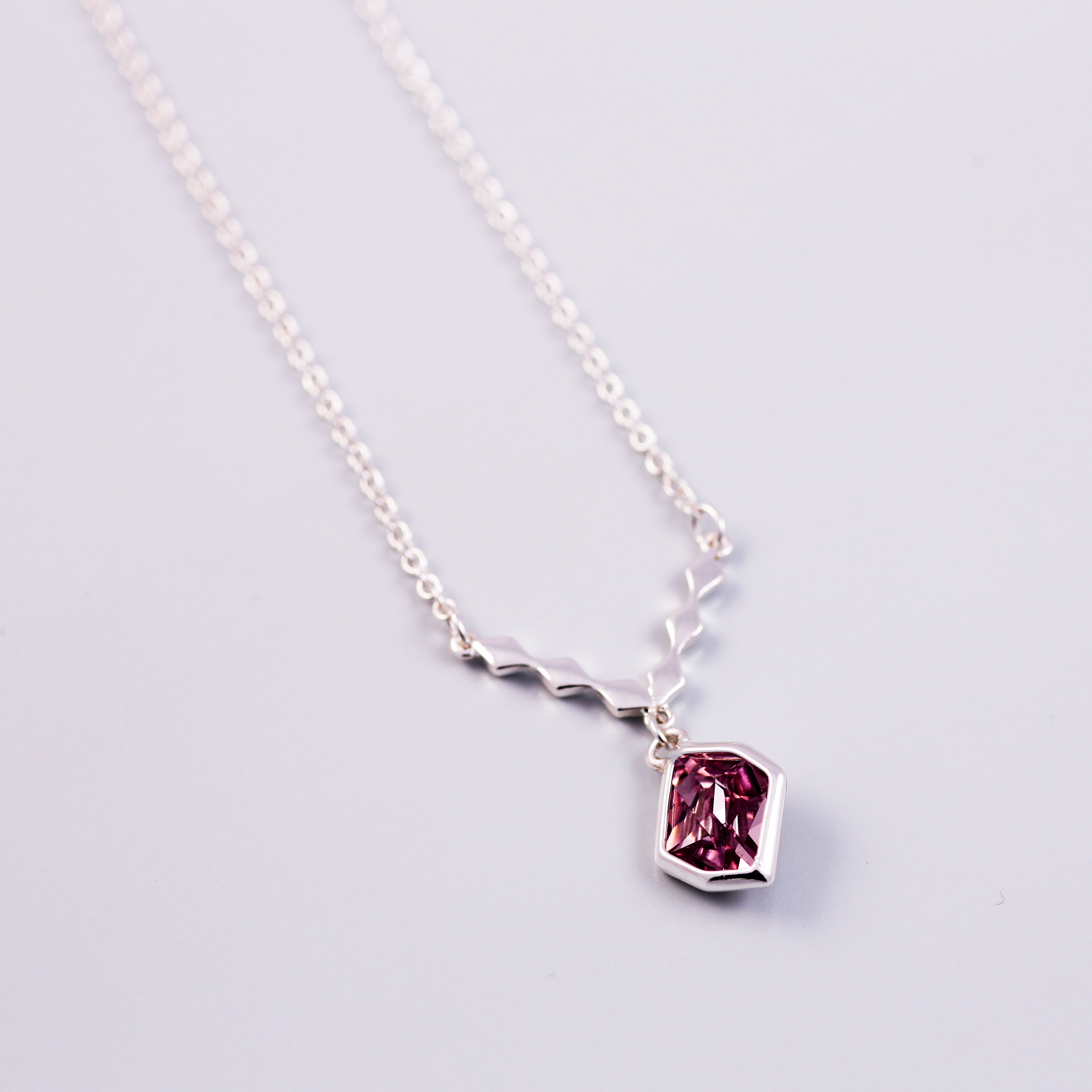 silver and pink diamond crystal necklace