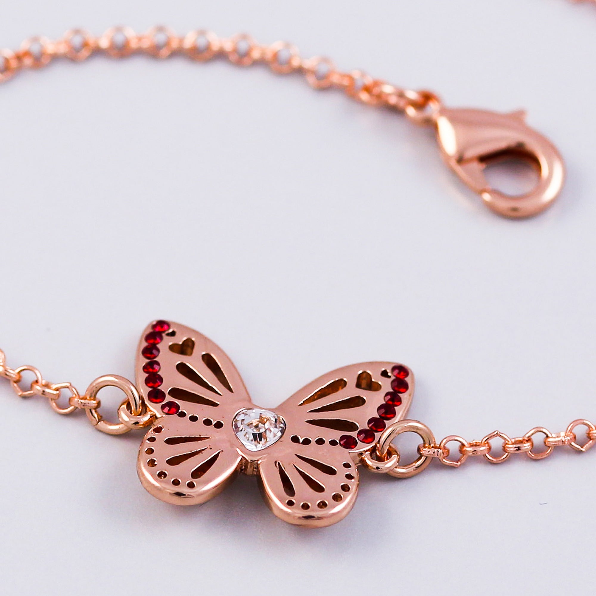 Rose Gold Siam January Birthstone Butterfly Bracelet