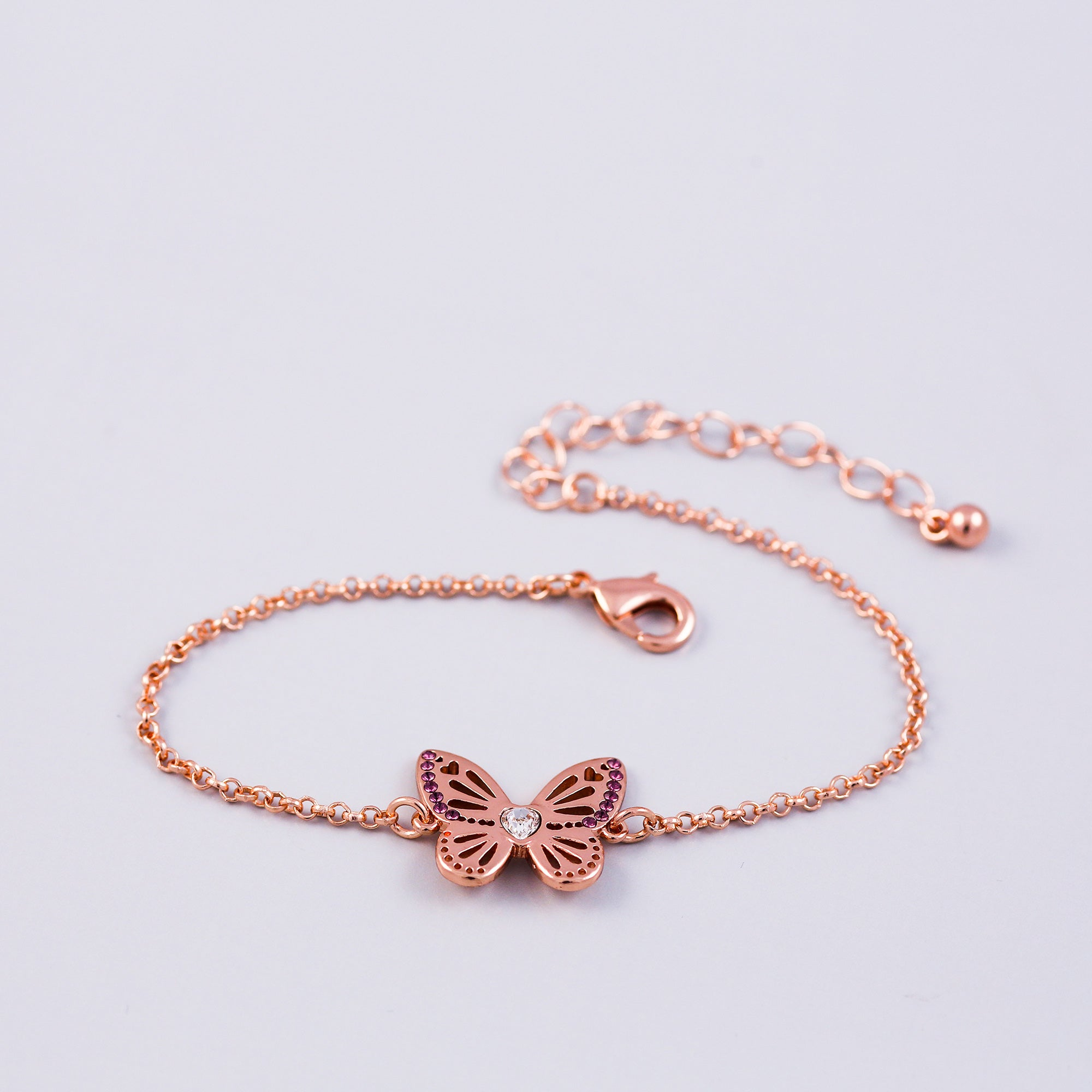 Rose Gold Amethyst February Birthstone Butterfly Bracelet