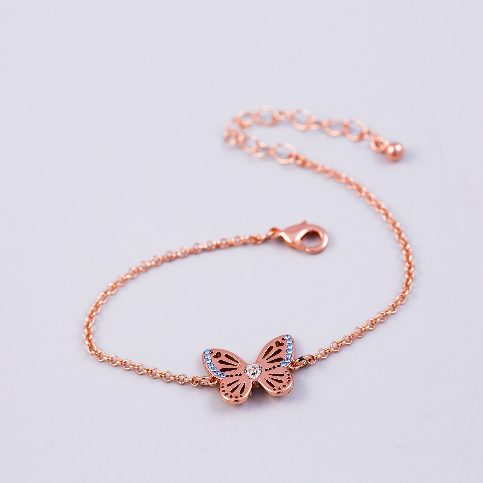 Rose Gold Aquamarine March Birthstone Butterfly Bracelet