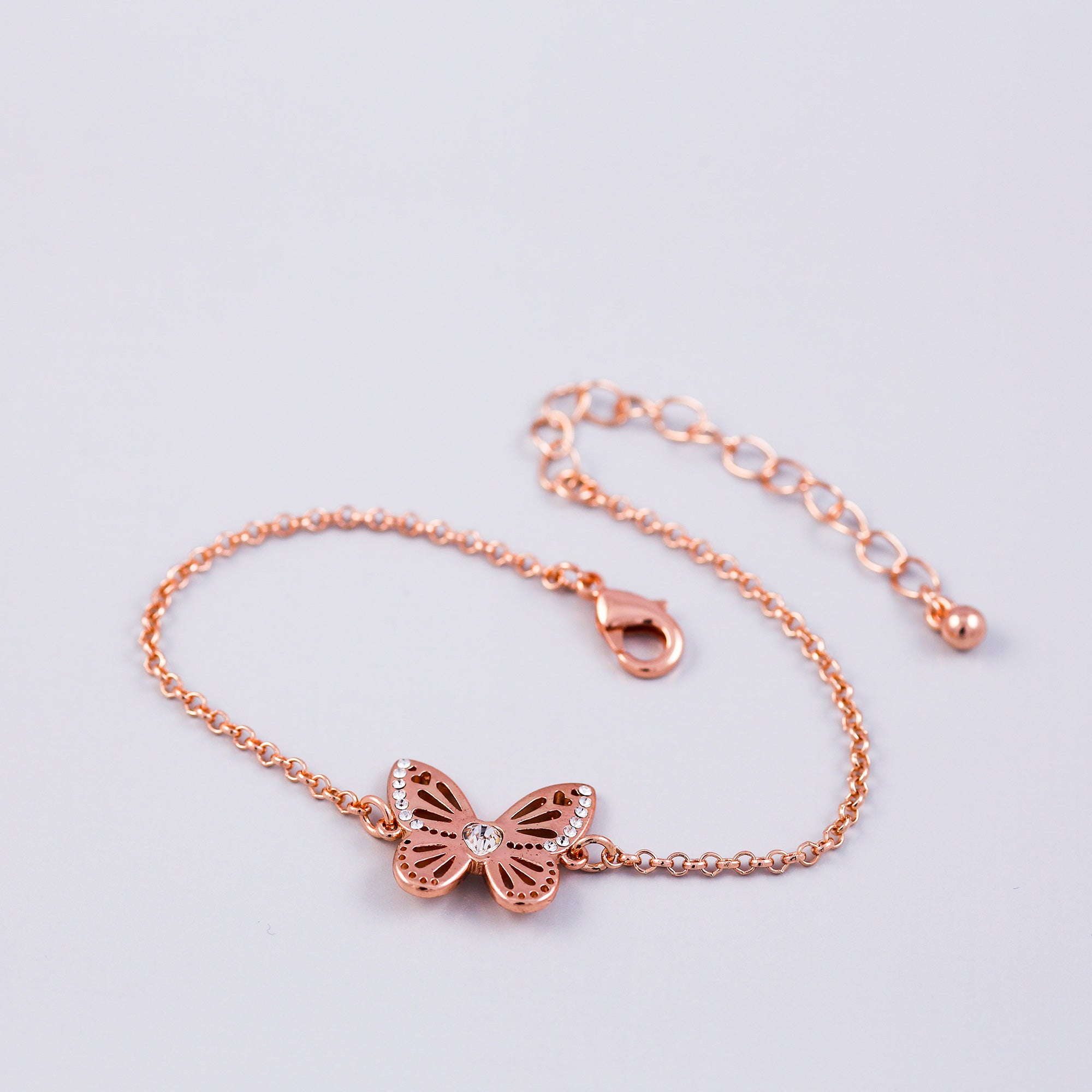 Rose Gold Crystal April Birthstone Butterfly Bracelet