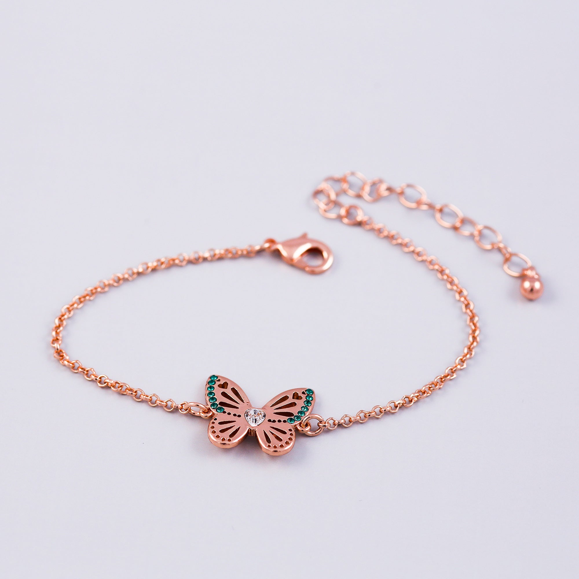 Rose Gold Emerald May Birthstone Butterfly Bracelet