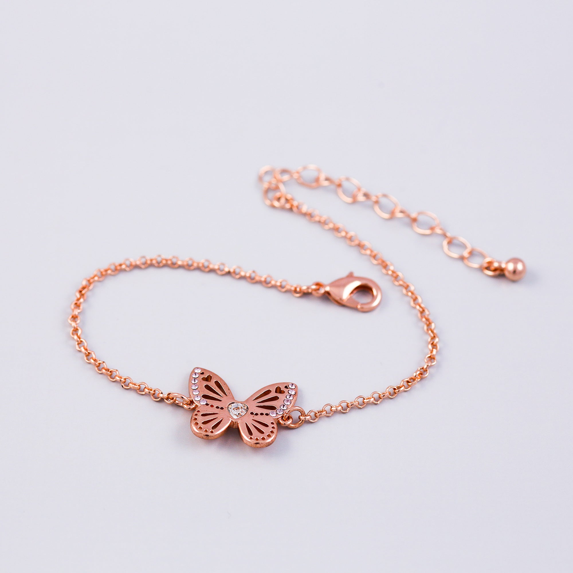 Rose Gold Light Amethyst June Birthstone Butterfly Bracelet