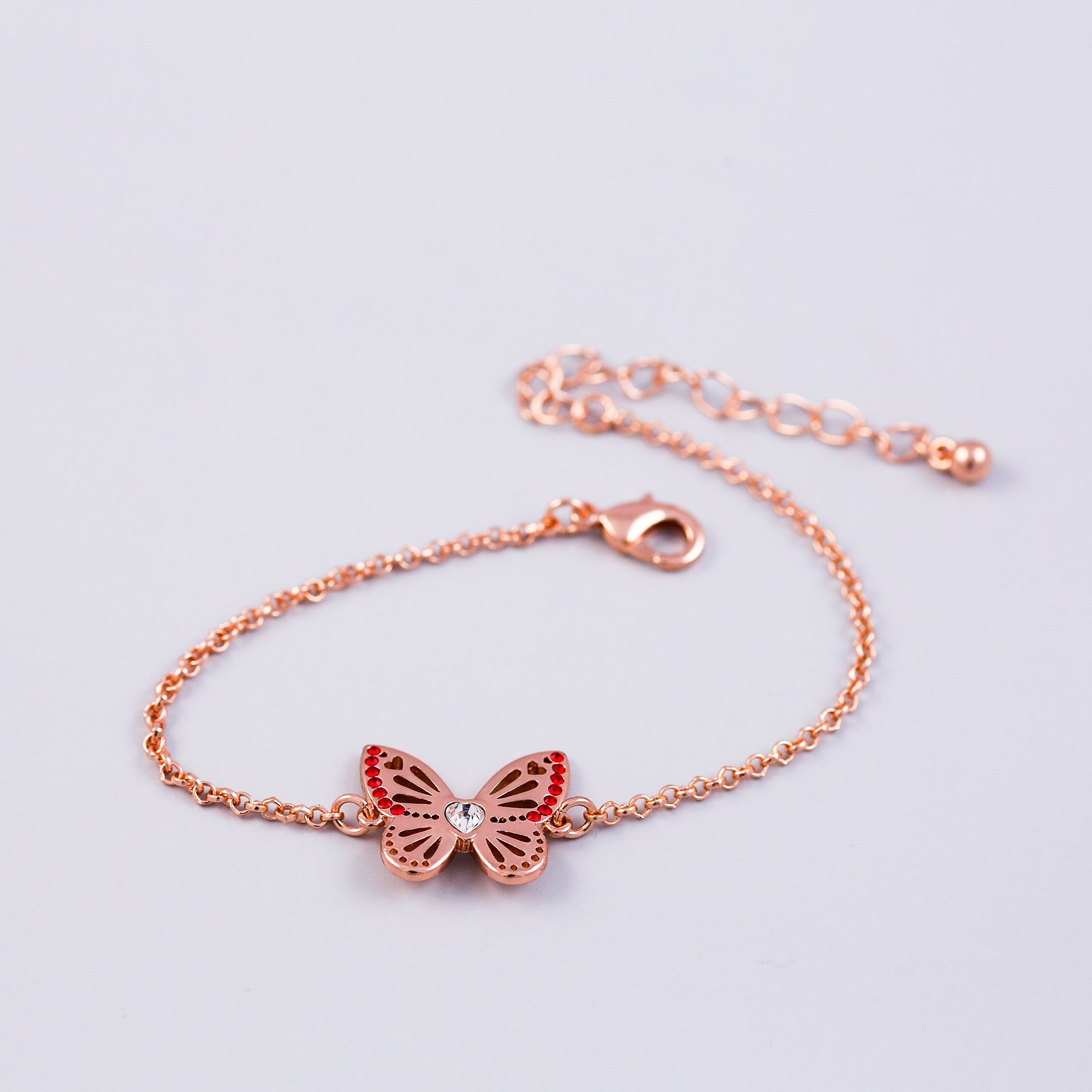 Rose Gold Ruby July Birthstone Butterfly Bracelet