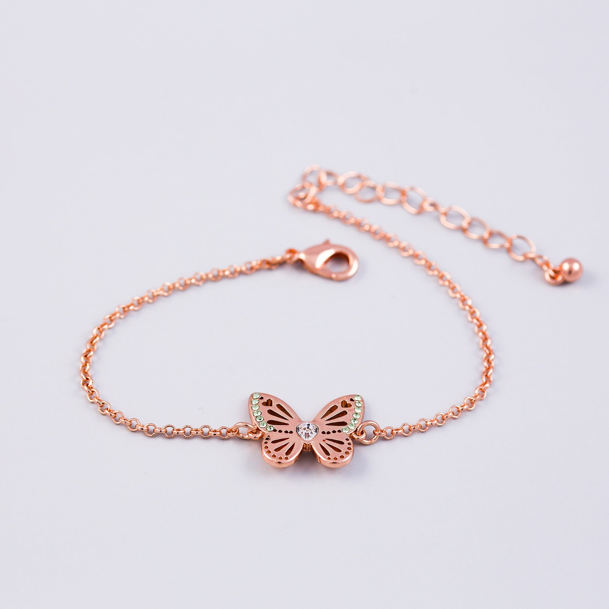 Rose Gold Peridot August Birthstone Butterfly Bracelet