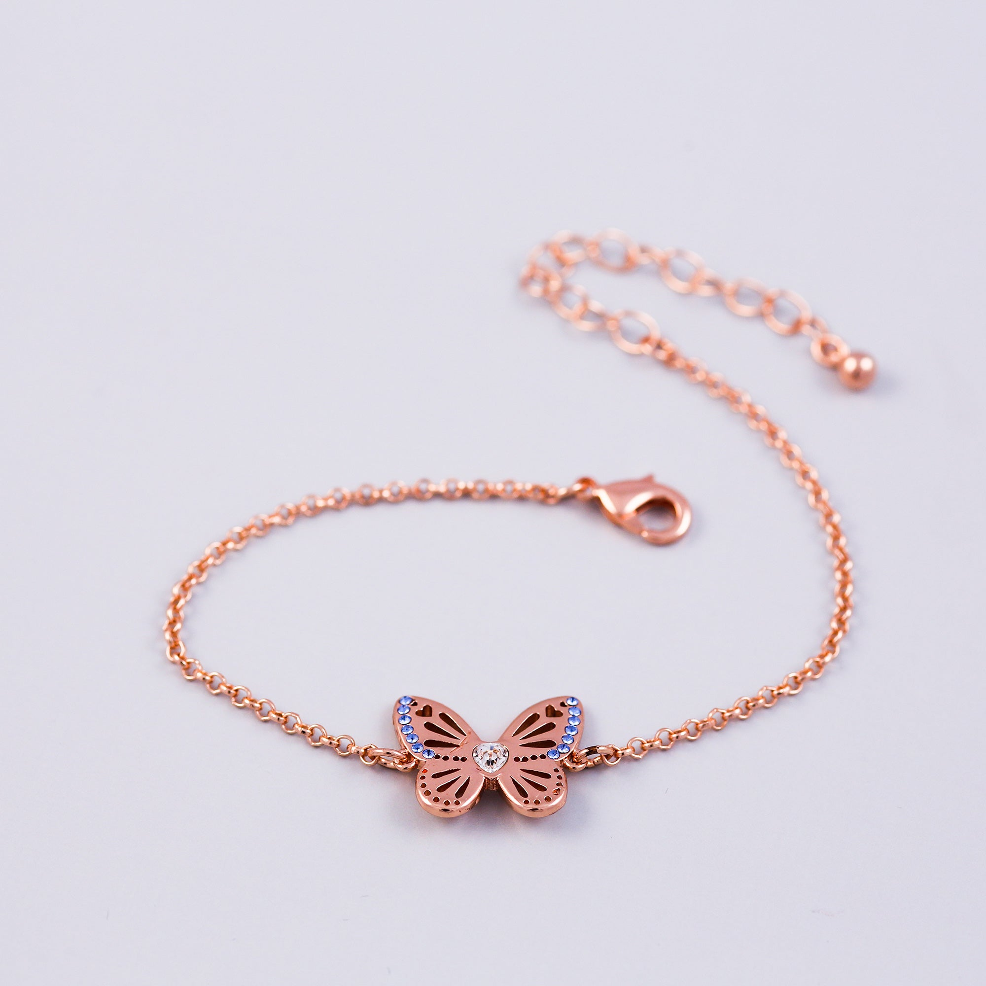 Rose Gold Sapphire September Birthstone Butterfly Bracelet