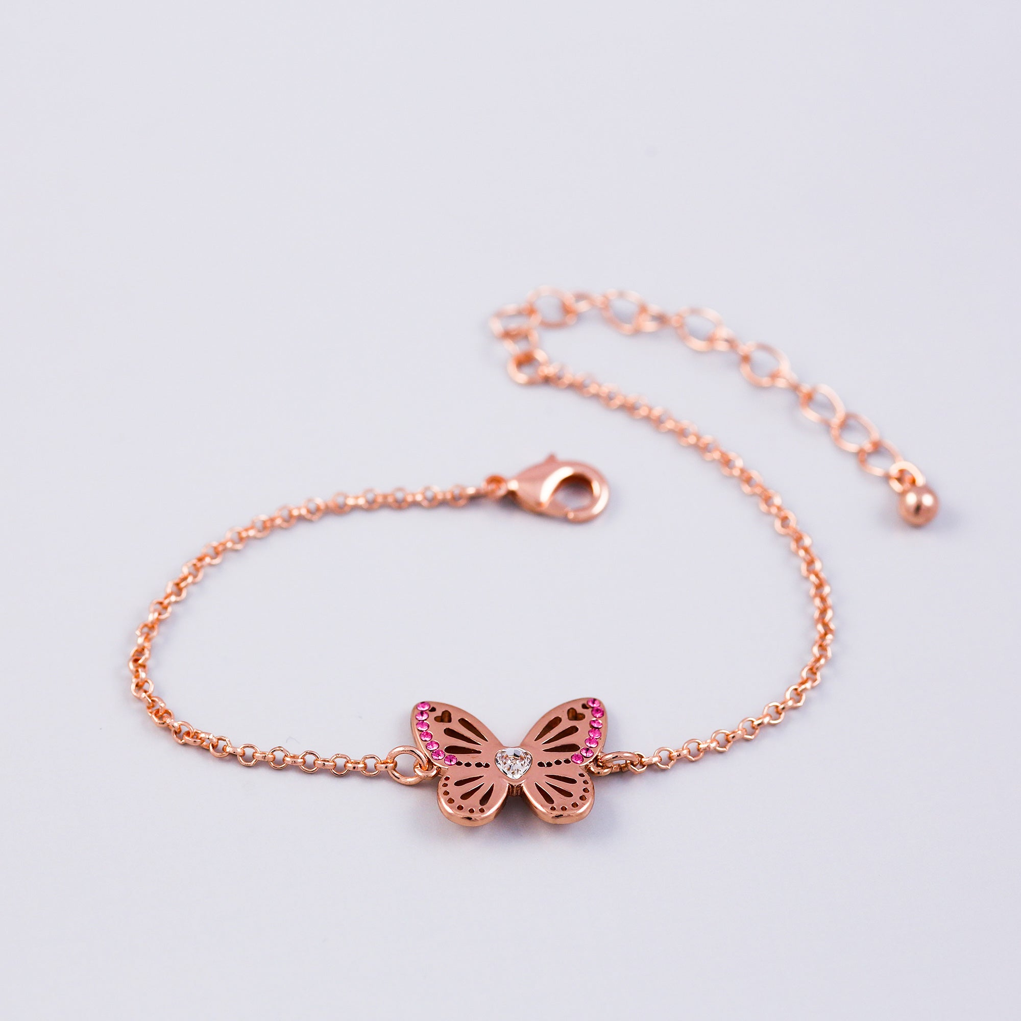 Rose Gold Rose October Birthstone Butterfly Bracelet