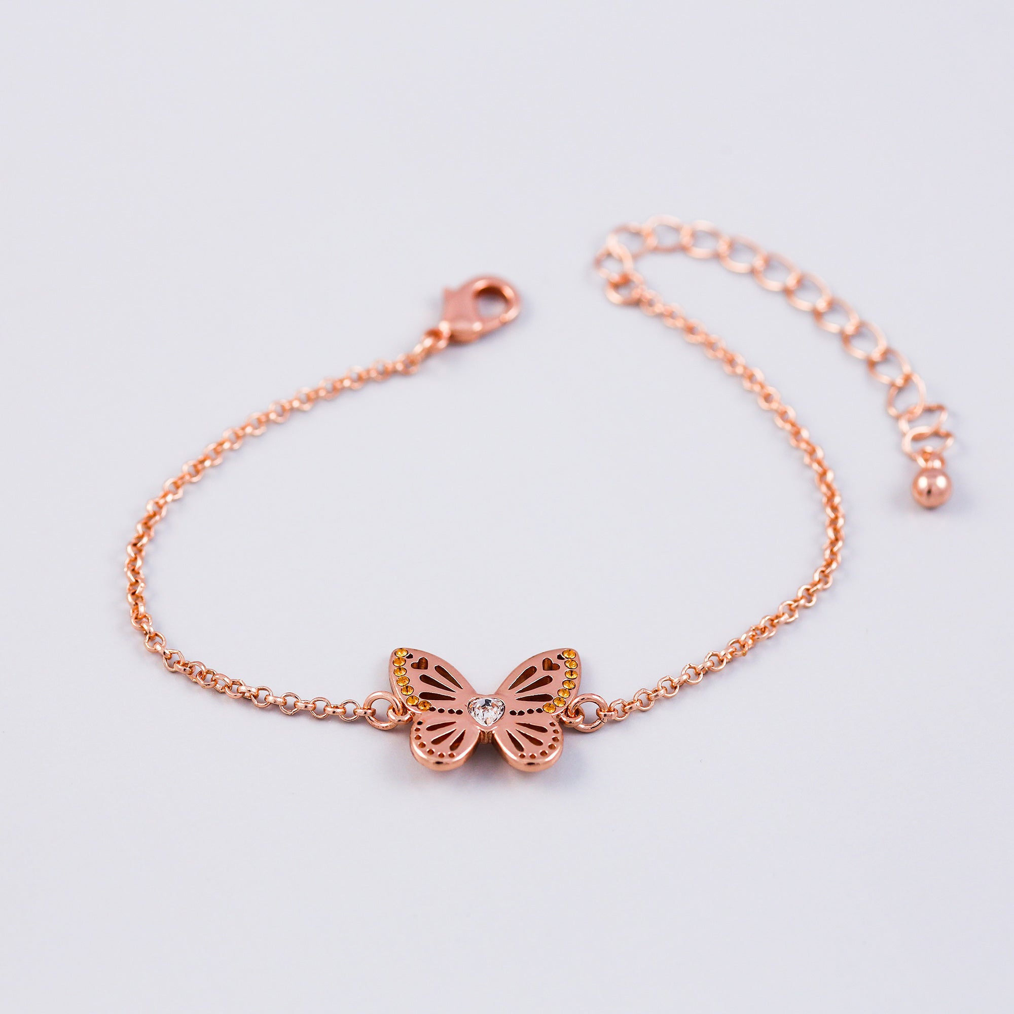Rose Gold Topaz November Birthstone Butterfly Bracelet