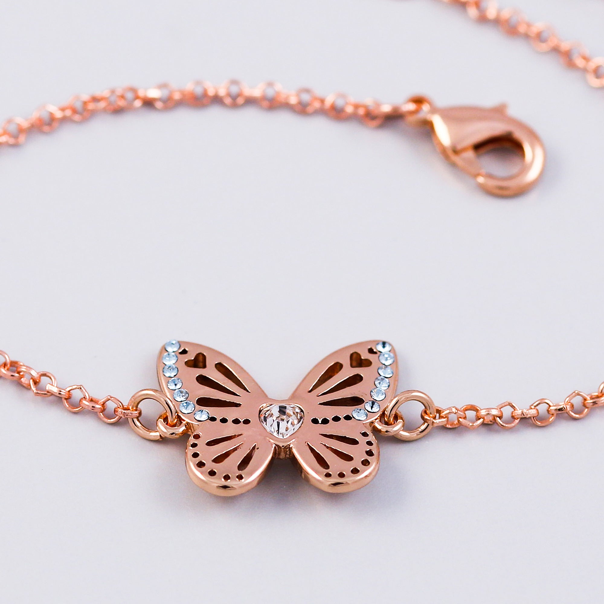 Rose Gold Light Sapphire December Birthstone Butterfly Bracelet