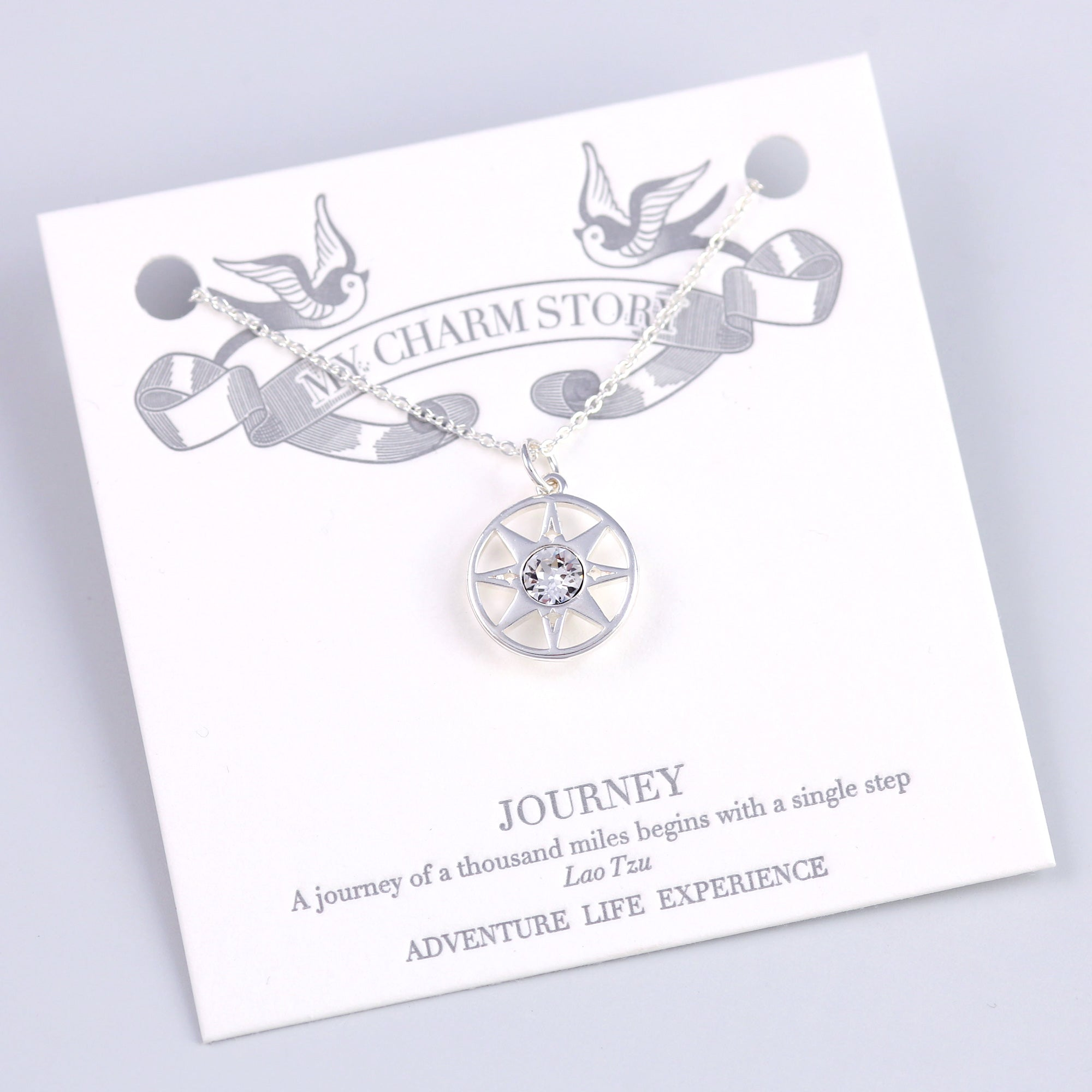 Silver Journey Compass Necklace