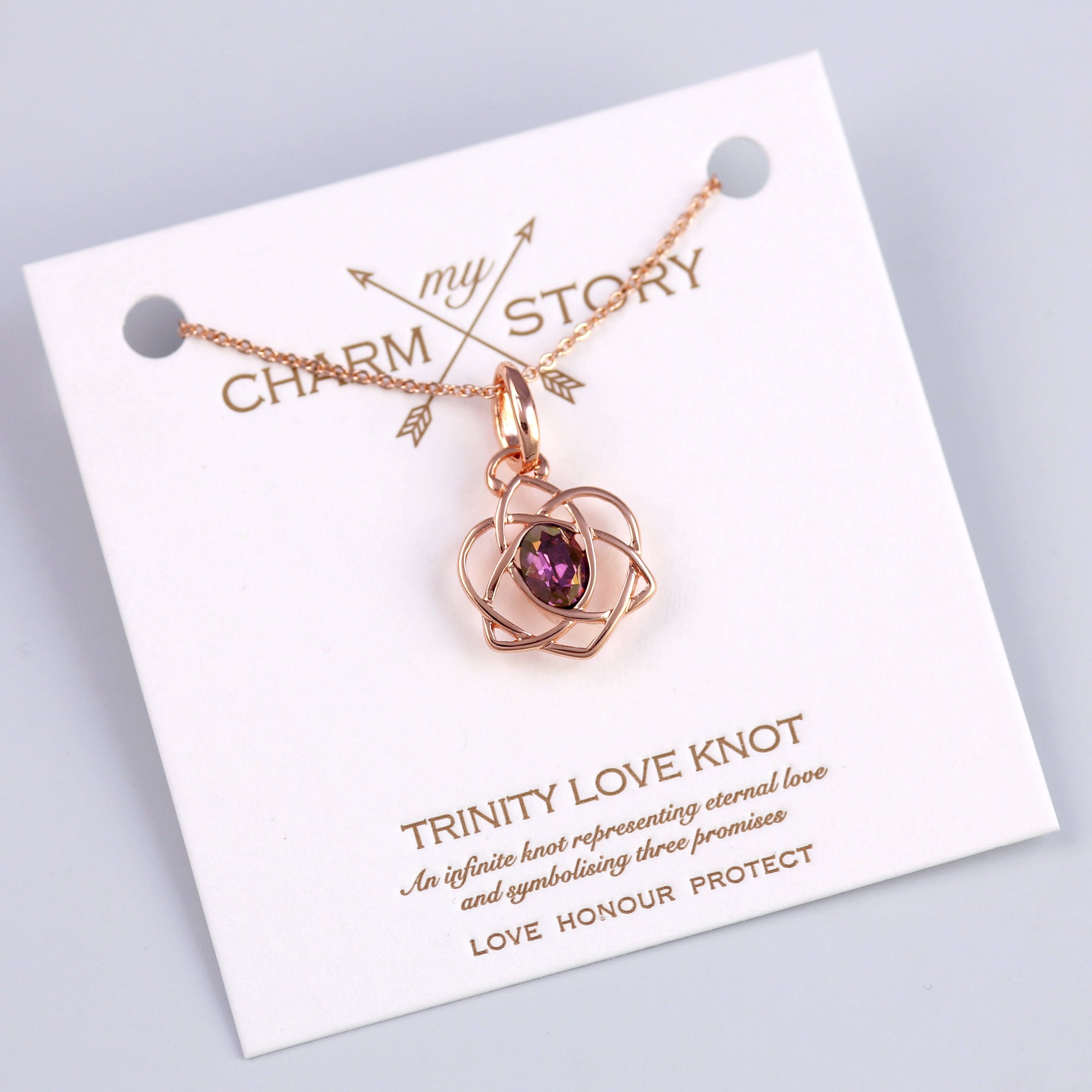 Rose Gold Trinity Love Knot Necklace