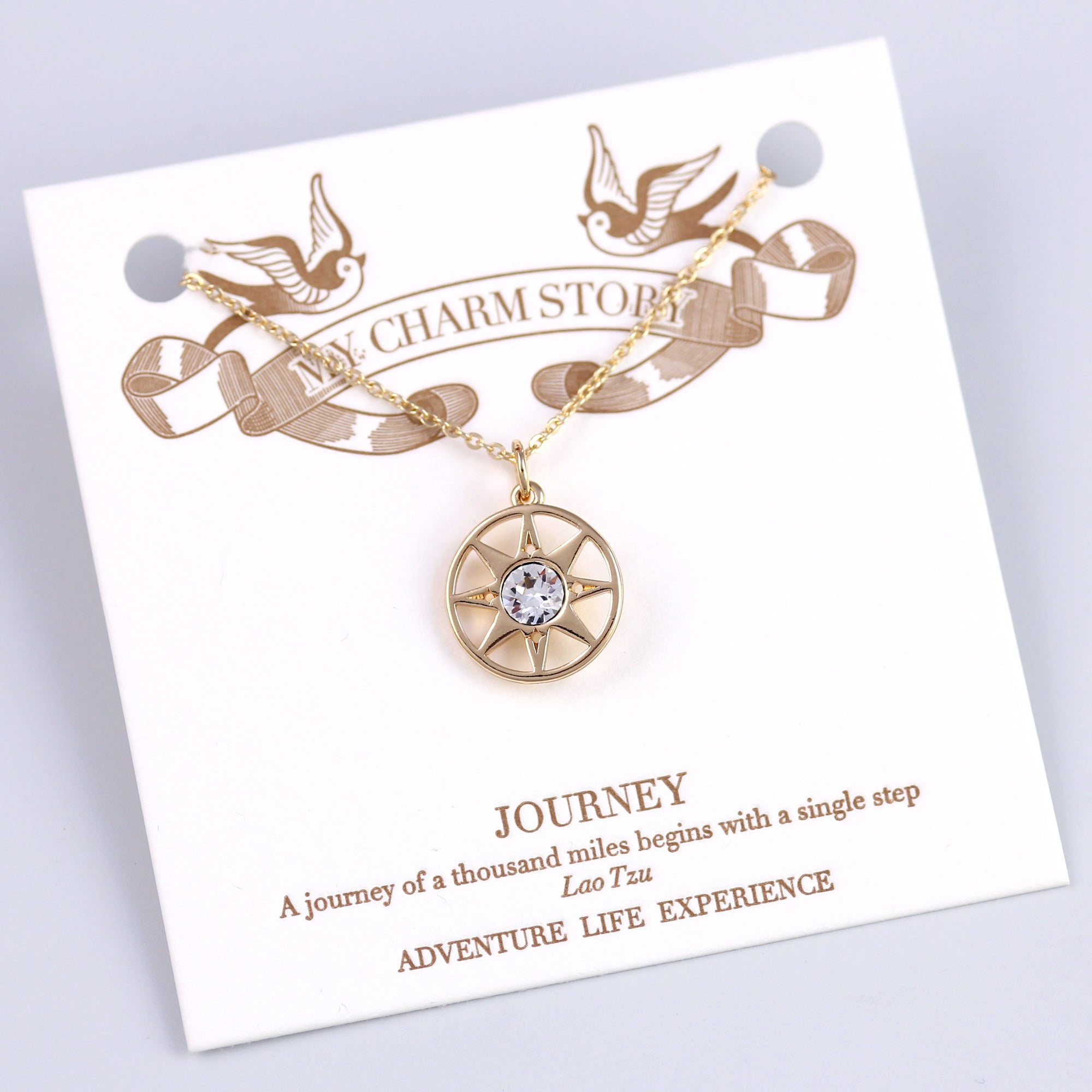 Gold Journey Compass Necklace