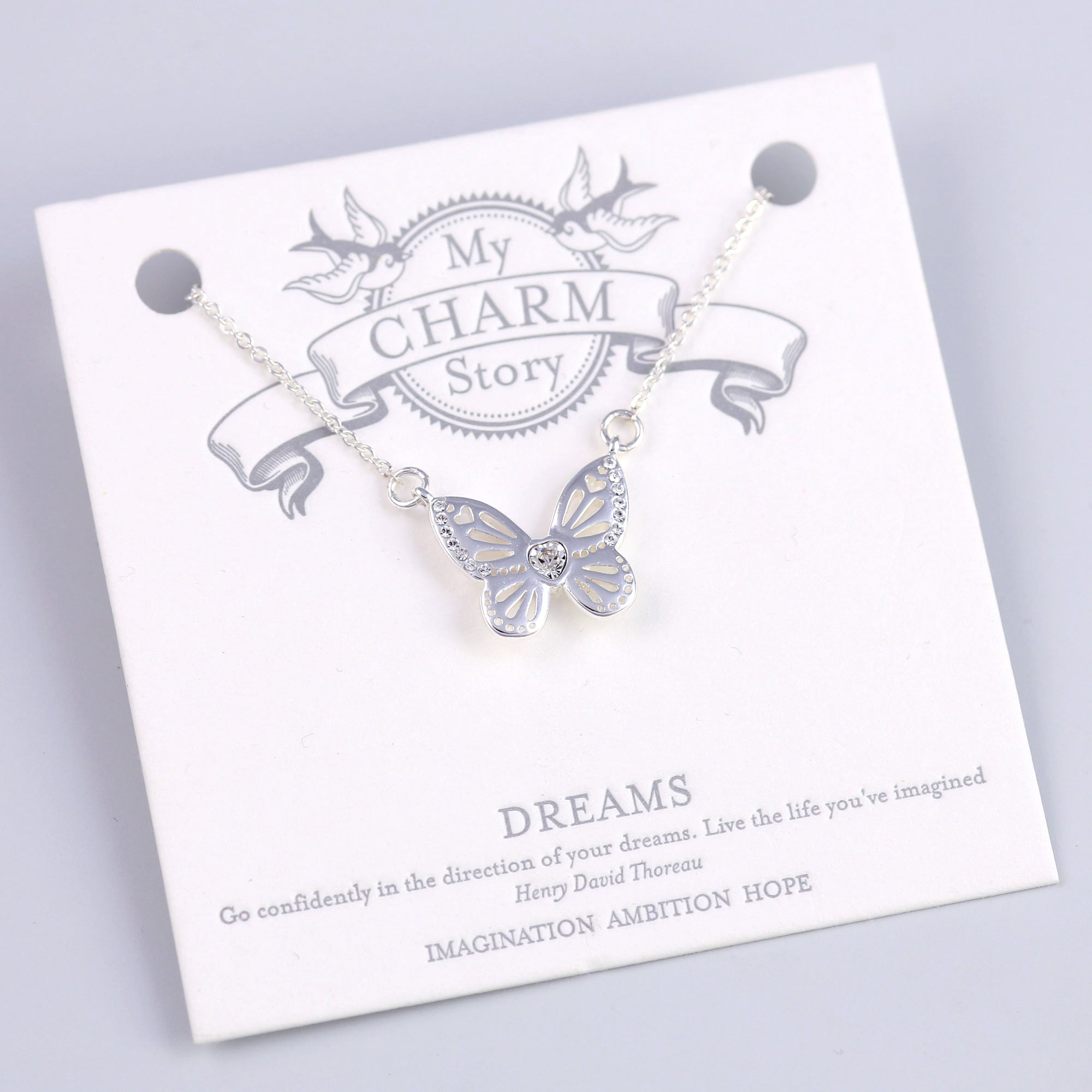 Silver Dreams Butterfly Necklace
