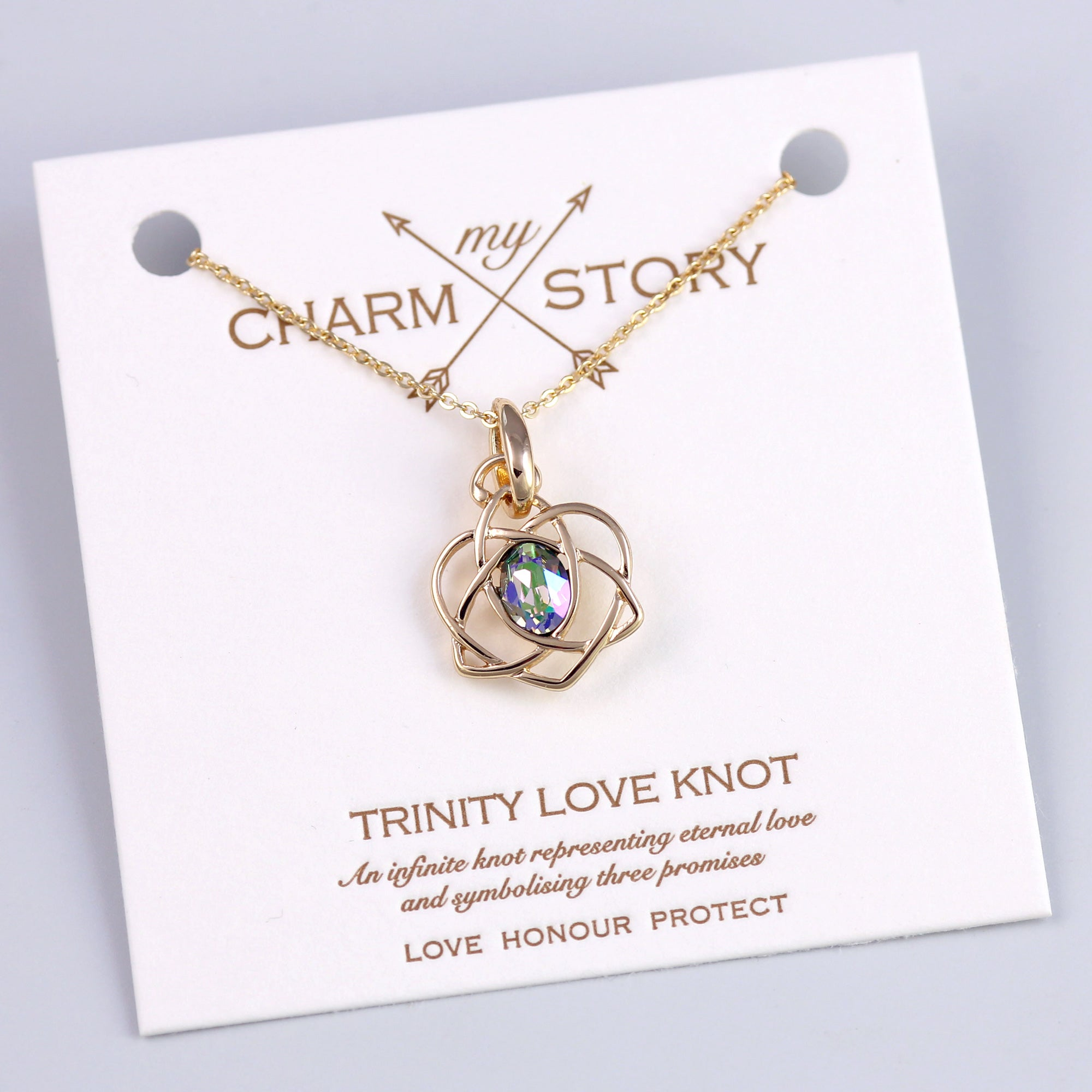 Gold Trinity Love Knot Necklace