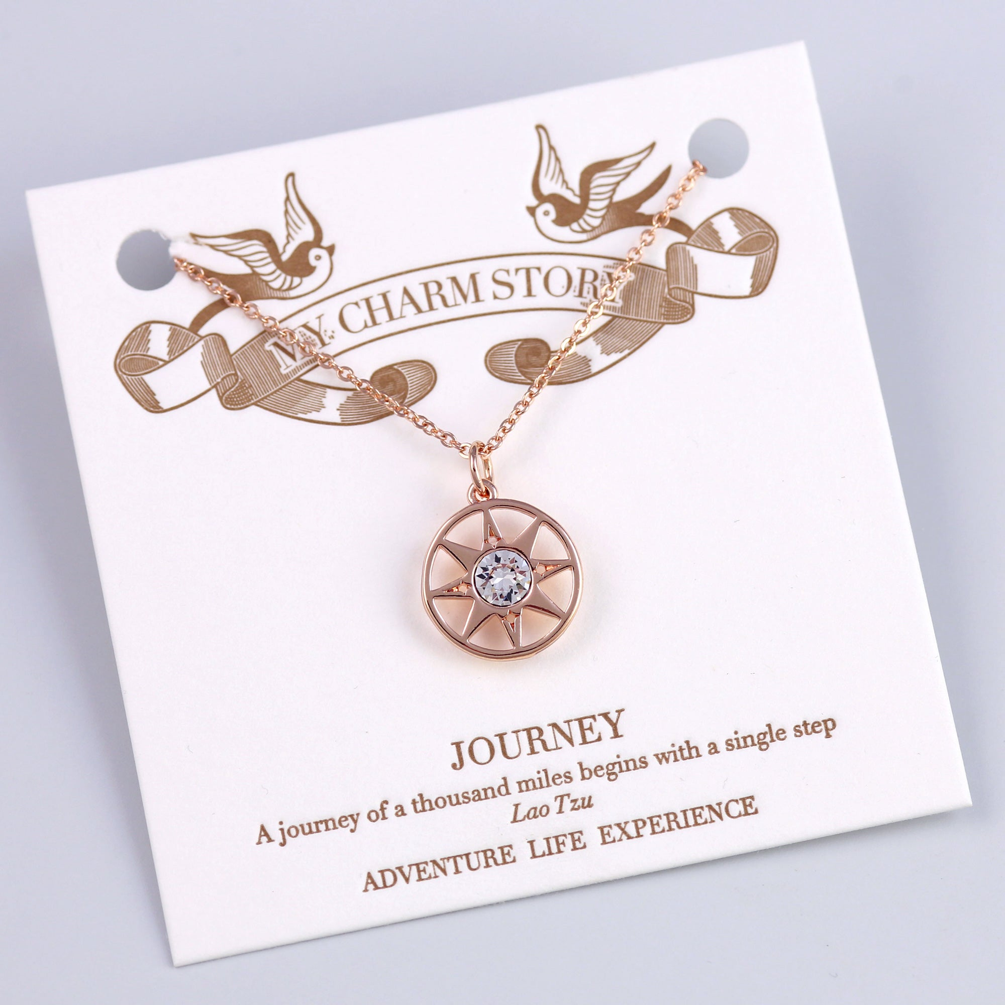 Rose Gold Journey Compass Necklace