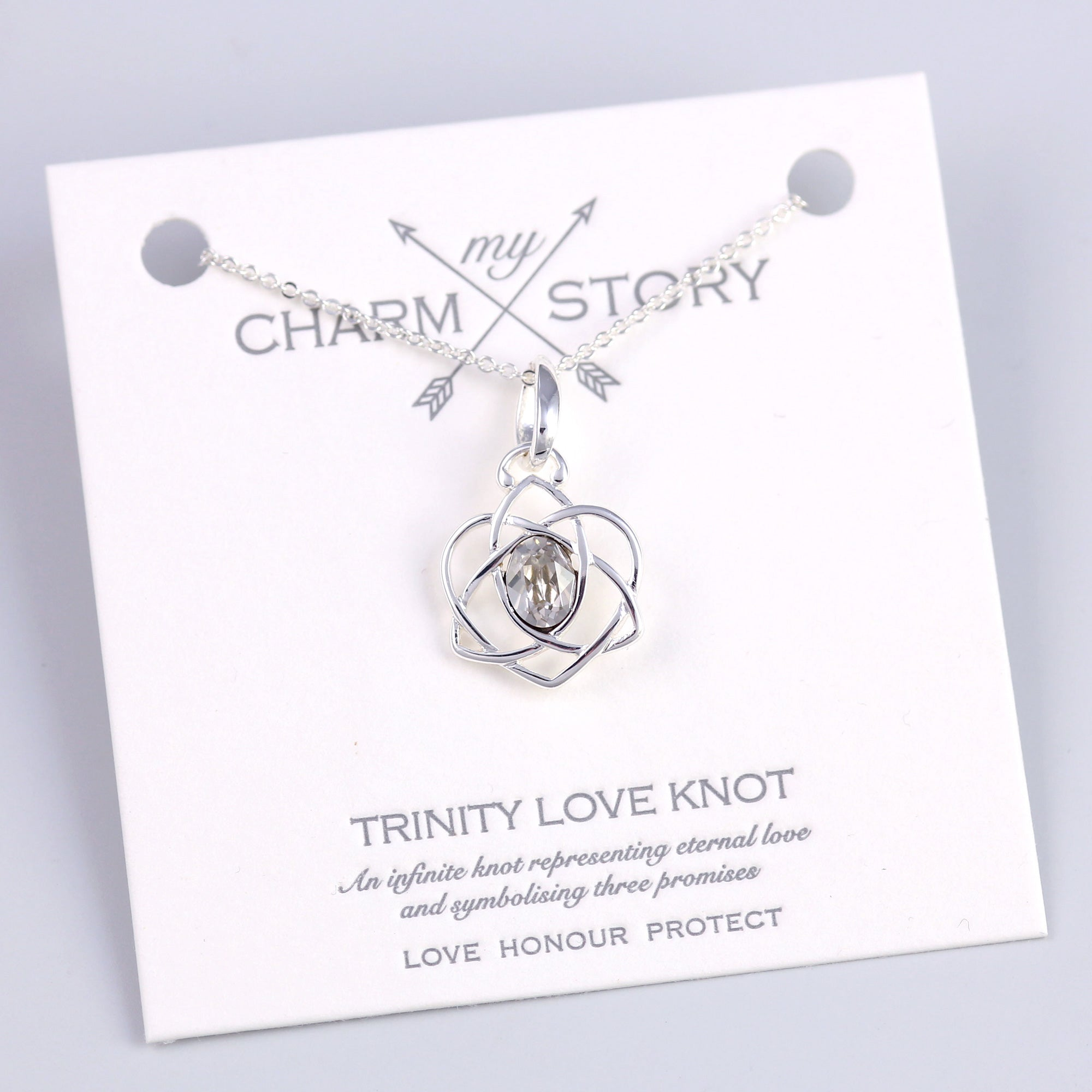 Silver Trinity Love Knot Necklace