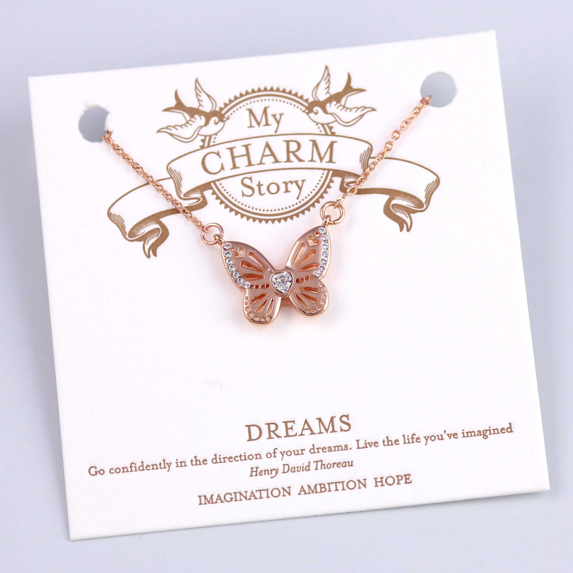 Rose Gold Dreams Butterfly Necklace